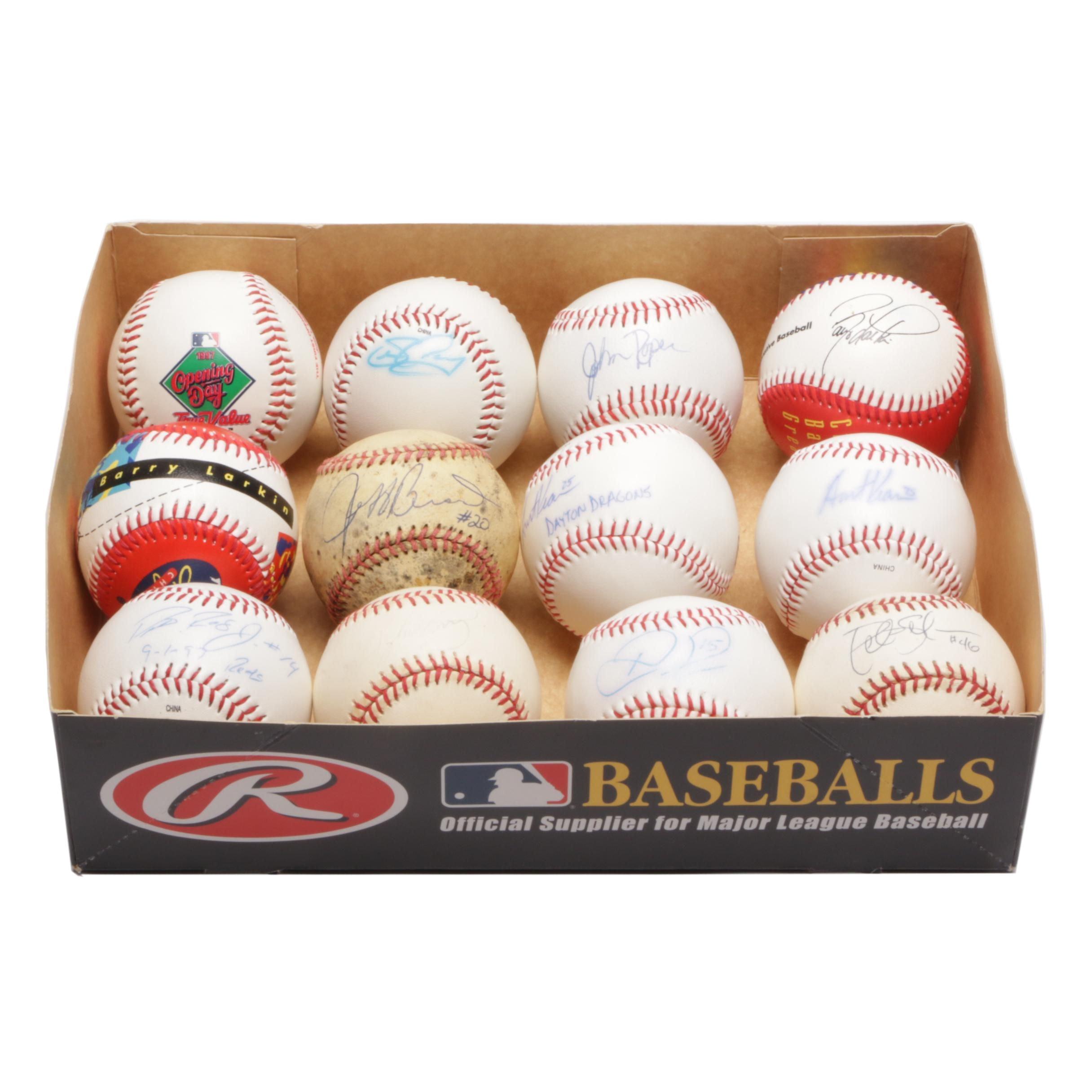 Twelve Baseballs With Rose Jr., Kearns, Casey, and Roper Autographs