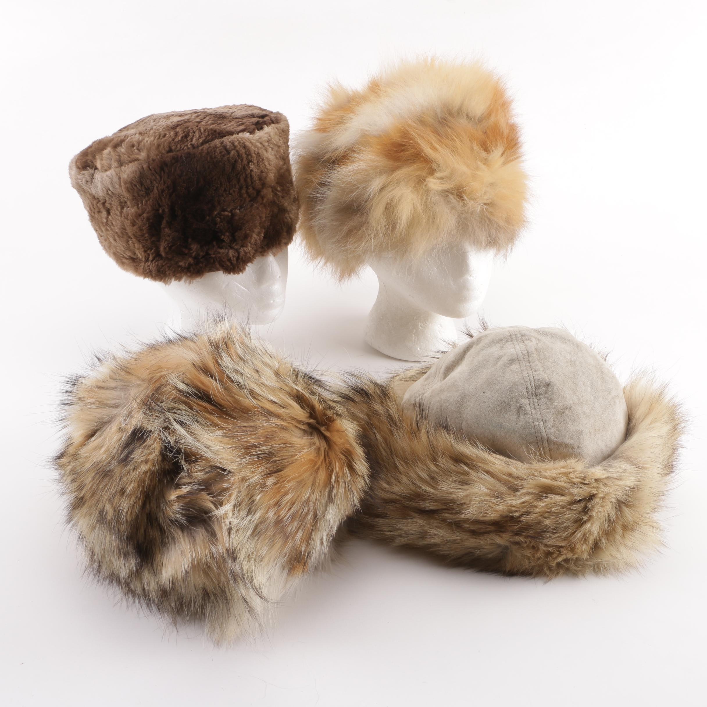 1970s Vintage Fox Fur, Coyote Fur and Shearling Hats