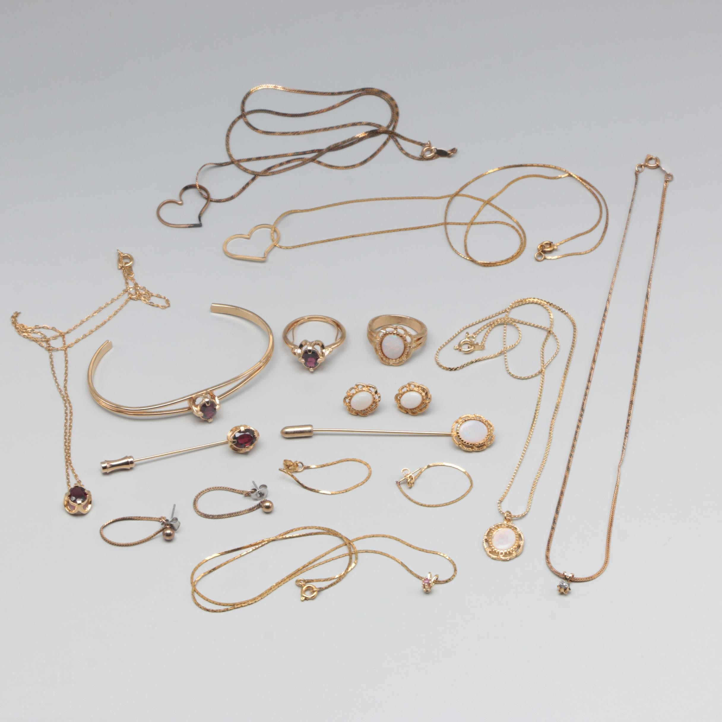 Gold Tone Jewelry Assortment Including Garnet and Opal