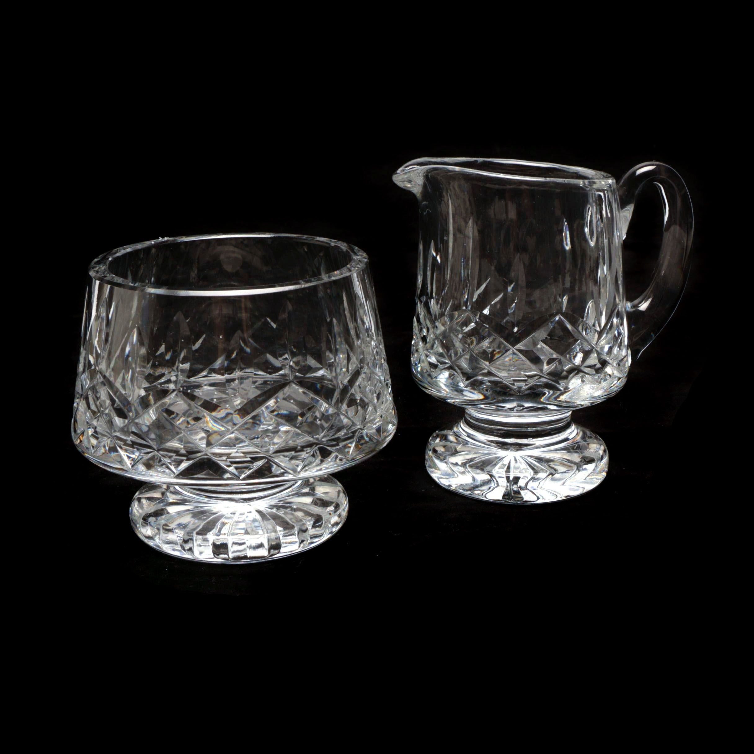 "Waterford Crystal ""Lismore"" Creamer and Sugar Bowl"