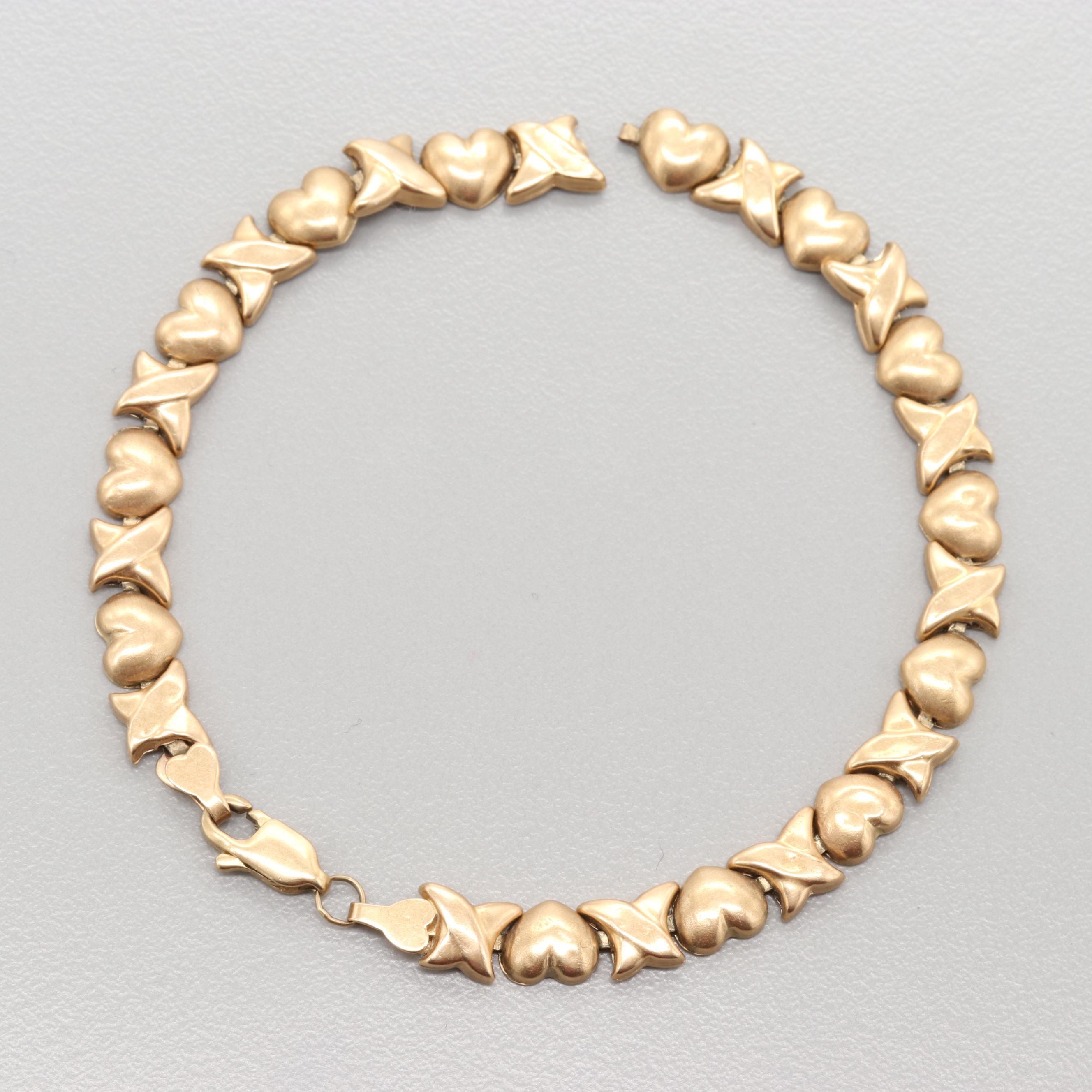 10K Yellow Gold Heart Motif Link Bracelet