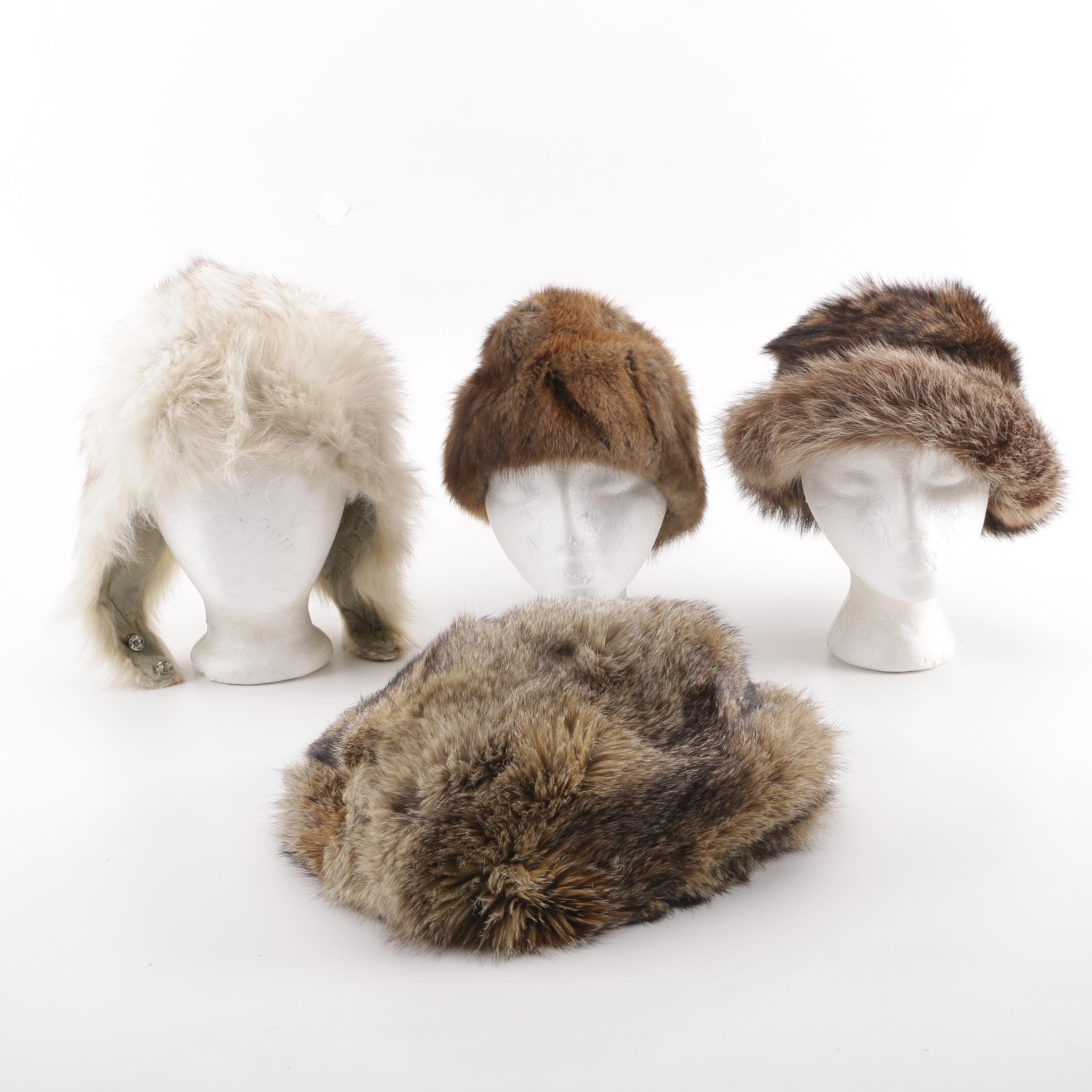 Fur Hats Including Raccoon and Coyote Fur