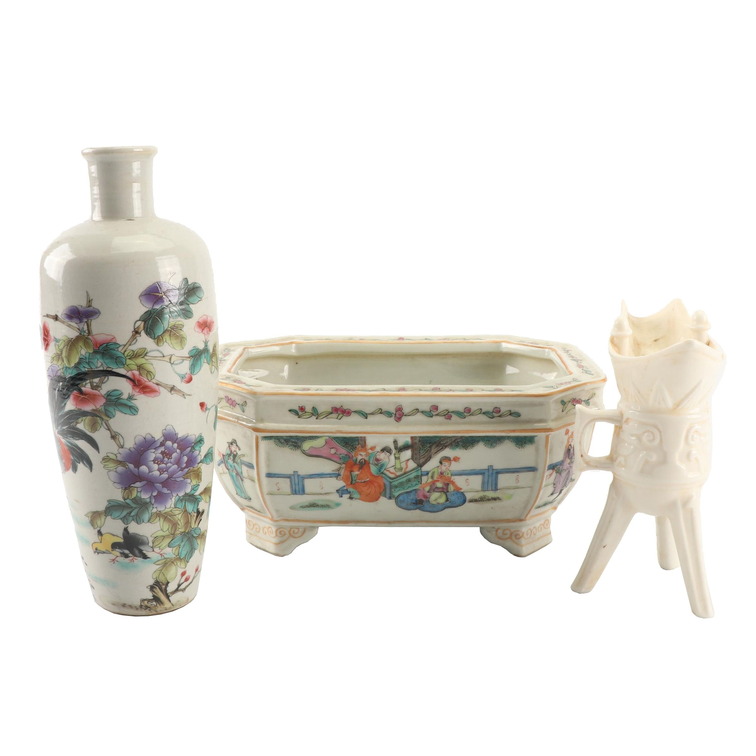 Chinese Hand-Painted Porcelain Vase and Planter with Wine Cup