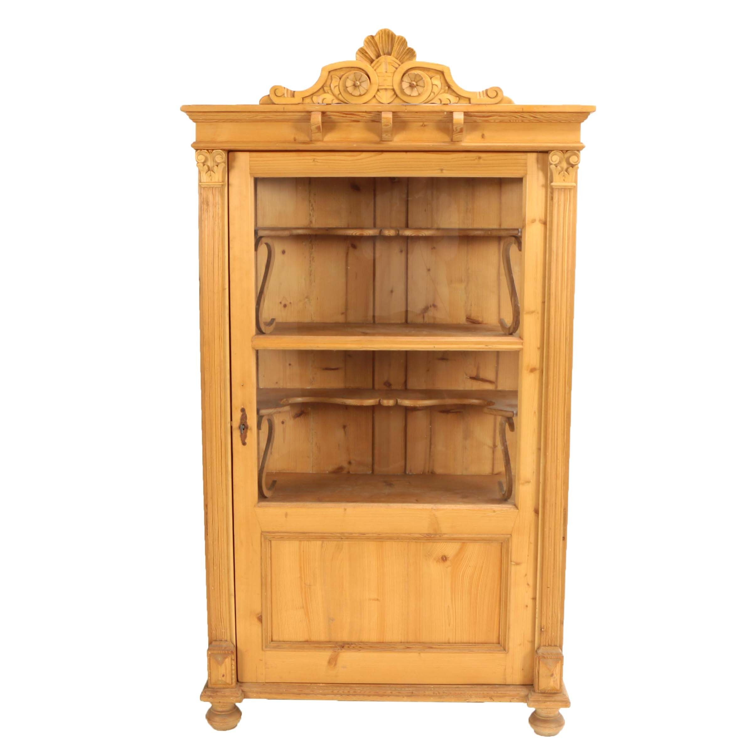 Continental Pine China Cabinet, Early 20th Century