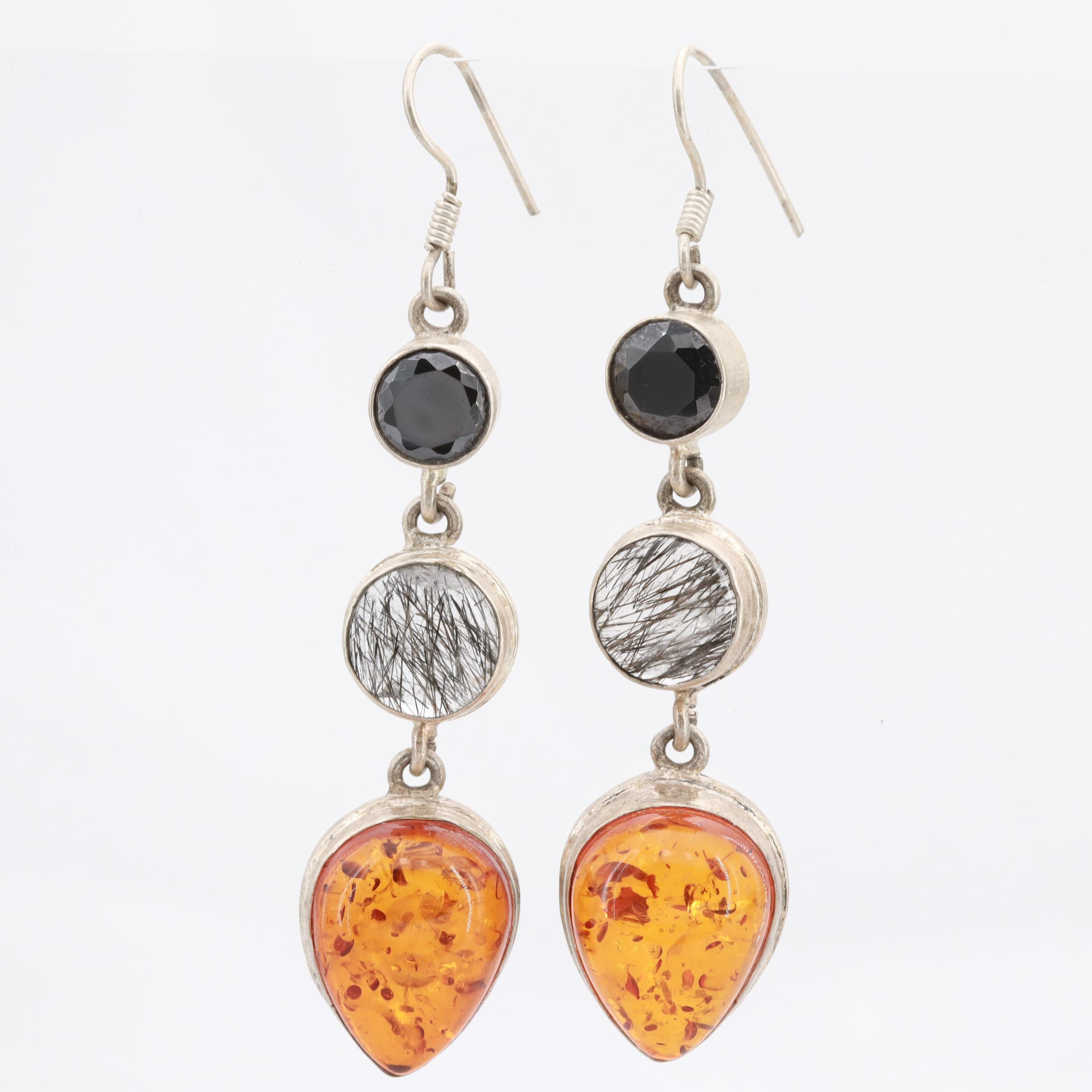 Sterling Silver Black Cubic Zirconia, Tourmalinated Quartz and Amber Earrings