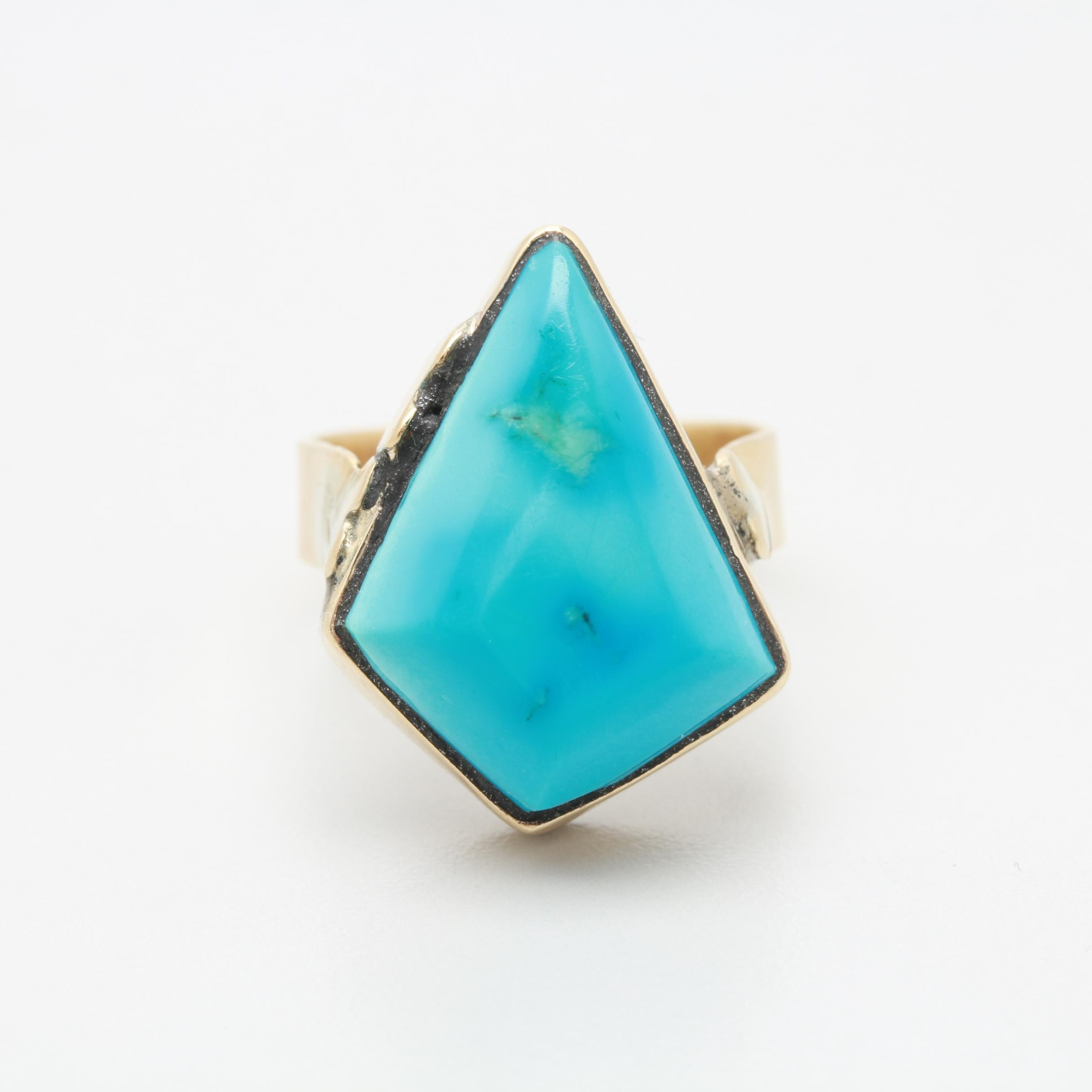 14K and 10K Yellow Gold Turquoise Ring