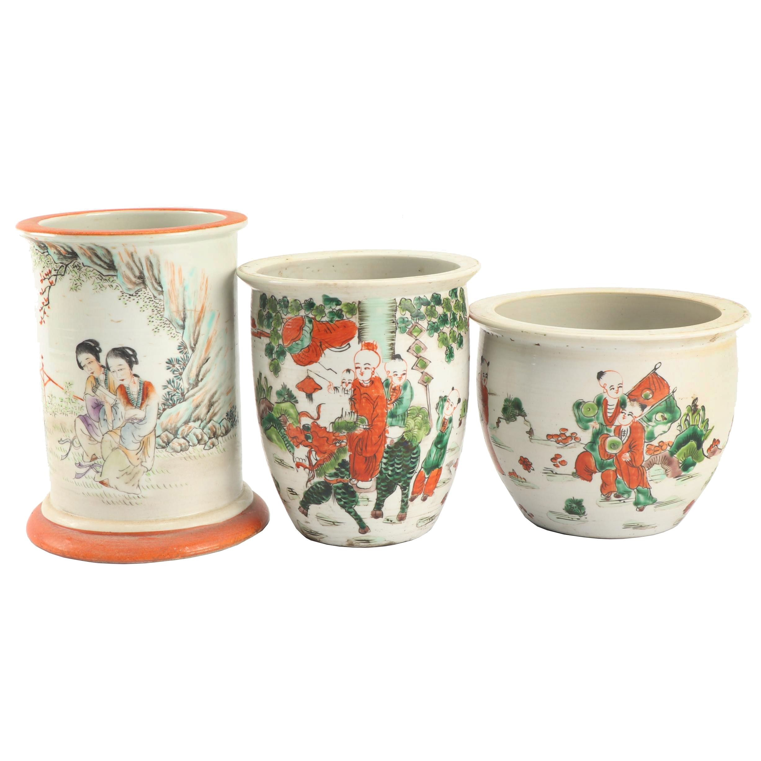 Chinese Hand-Painted Planters and Vase