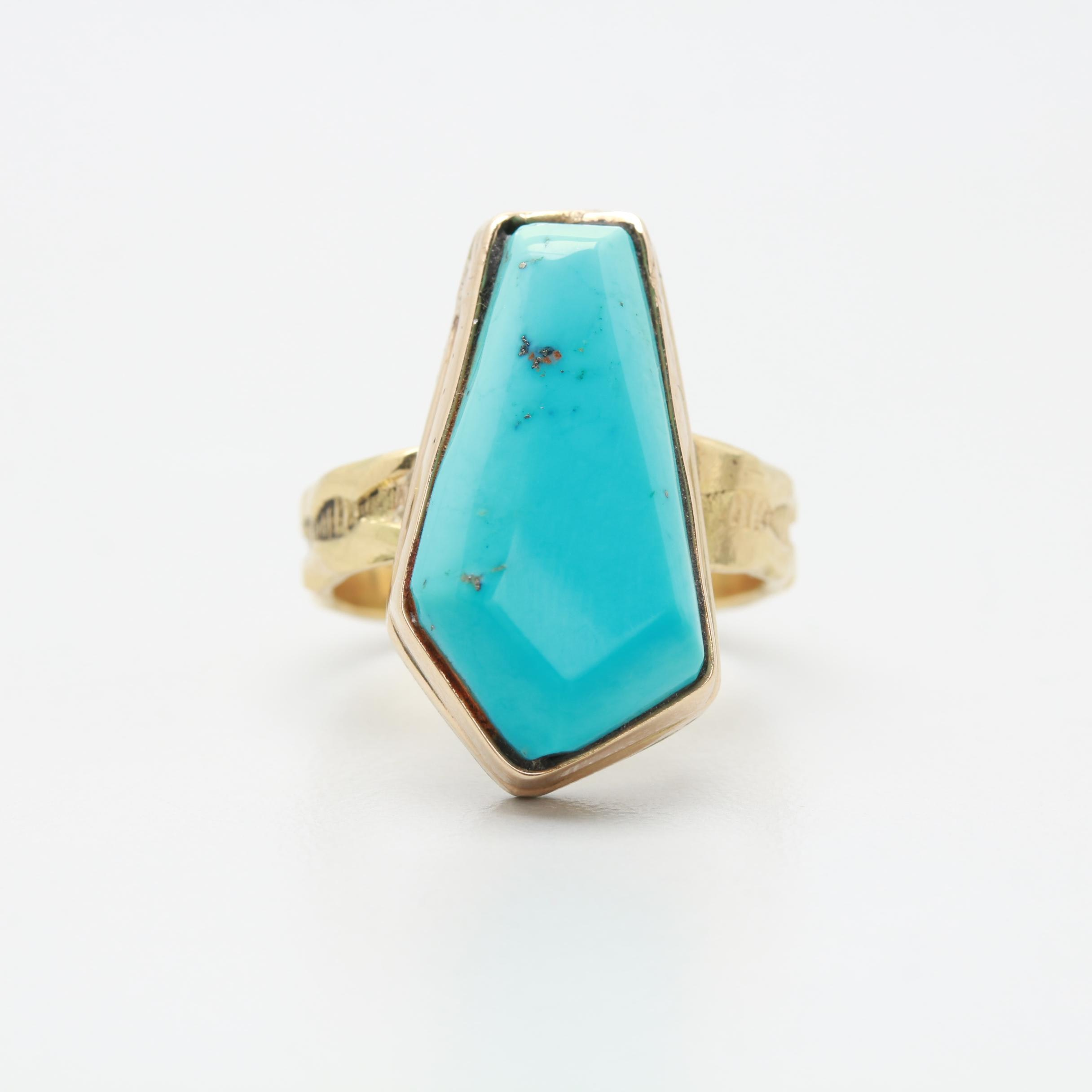 14K and 10K Yellow Gold Sterling Silver Turquoise Ring