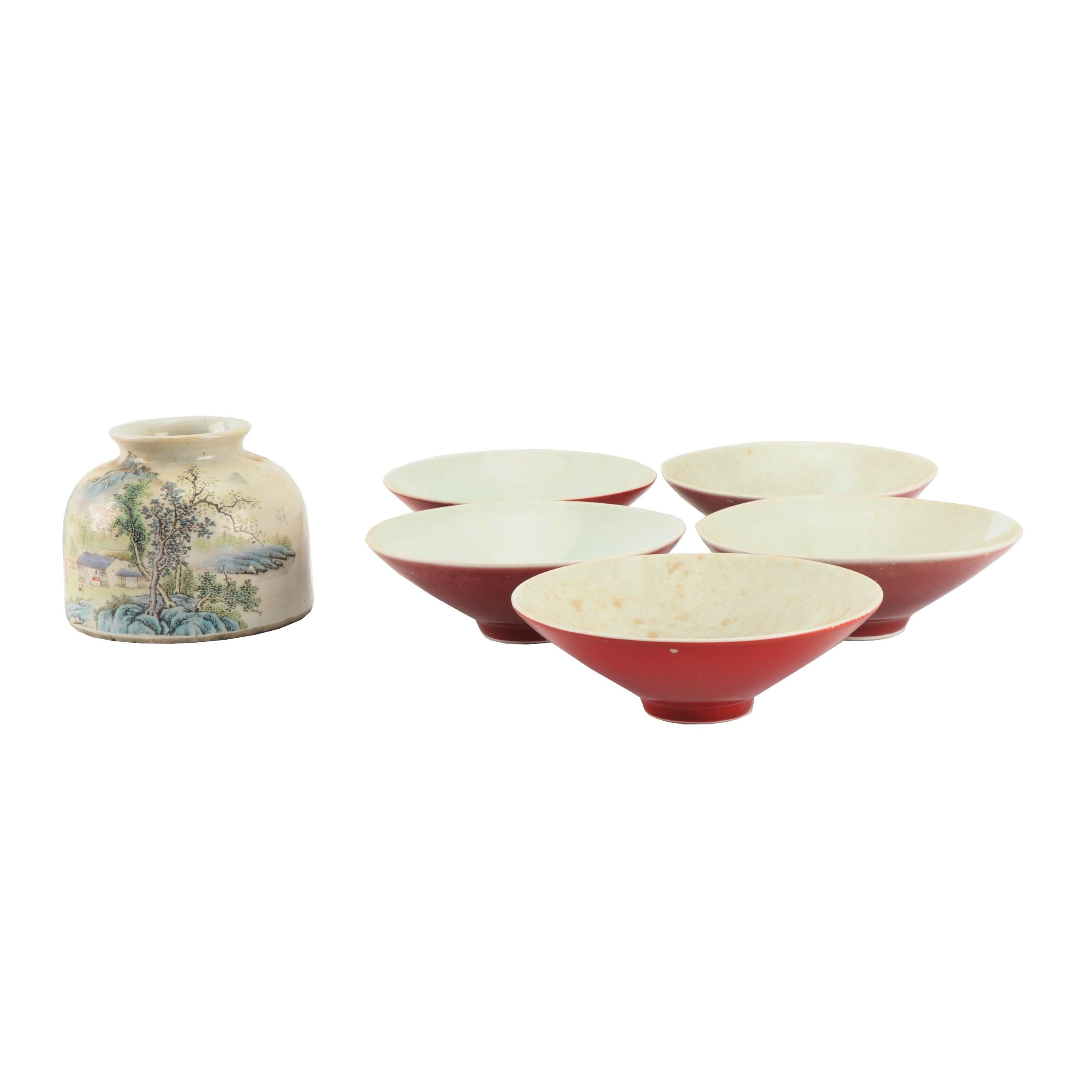 Chinese Republic Period Porcelain Jar and Red Glazed Bowls