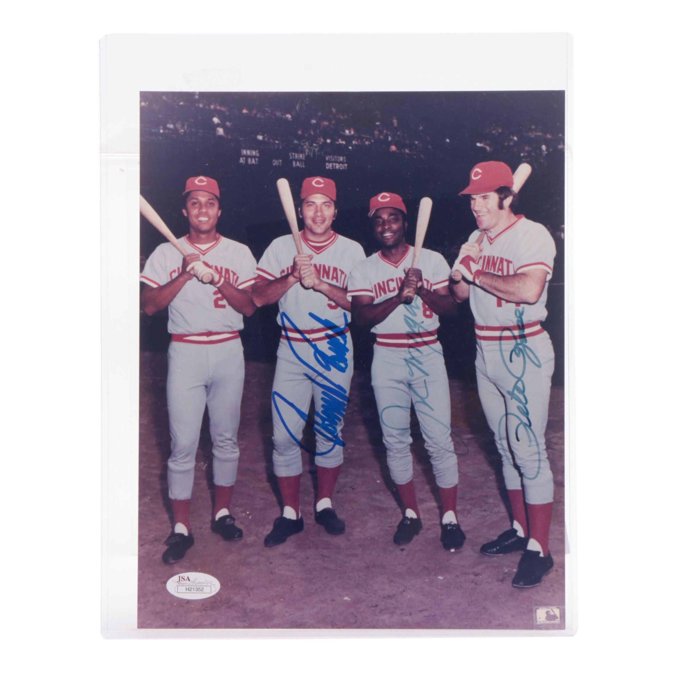 Johnny Bench, Joe Morgan, Pete Rose Signed Reds Photo JSA COA