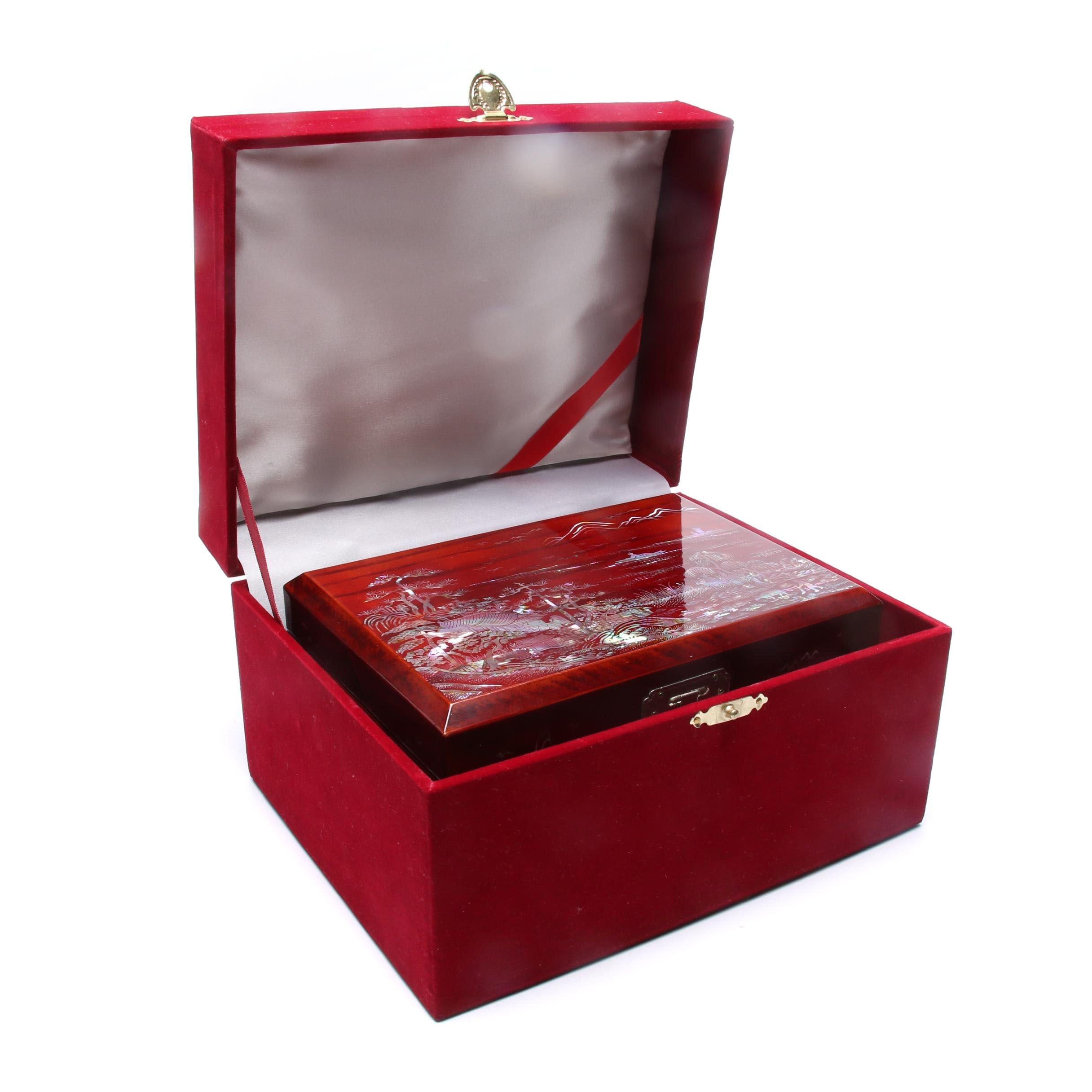 Chinese Jewelry Box with Abalone Inlay