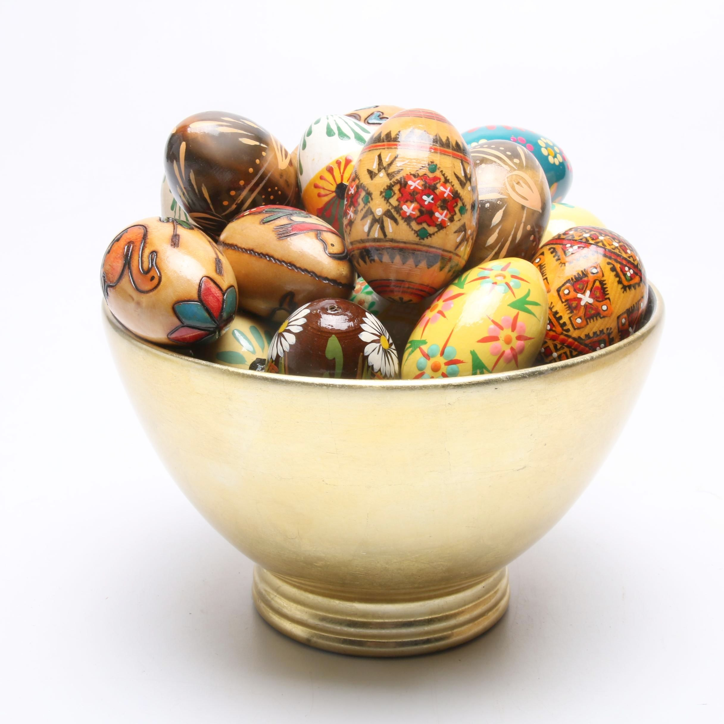 Handcrafted Polish Wood Eggs with Bowl