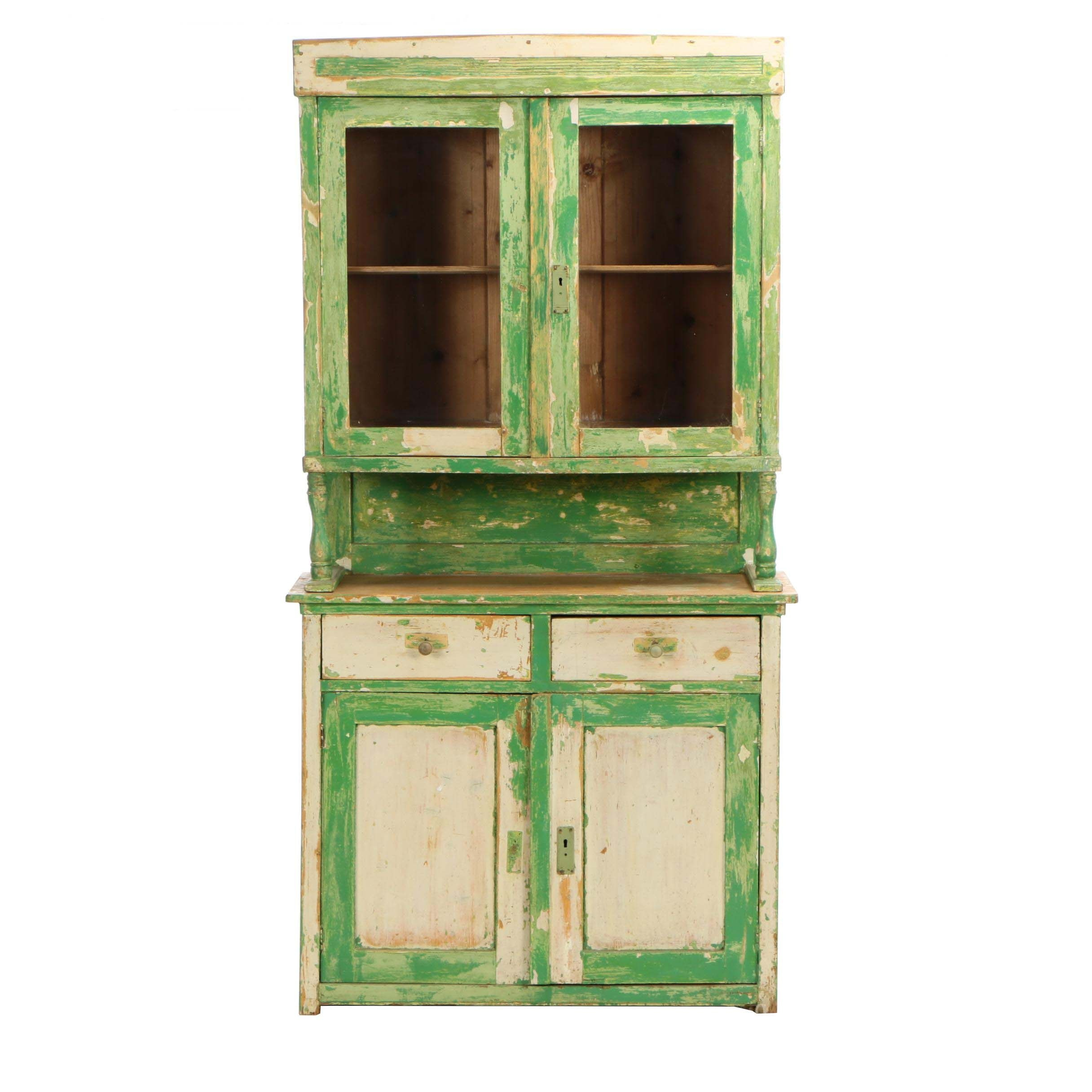 Hungarian Painted Pine Cabinet, Mid-20th Century