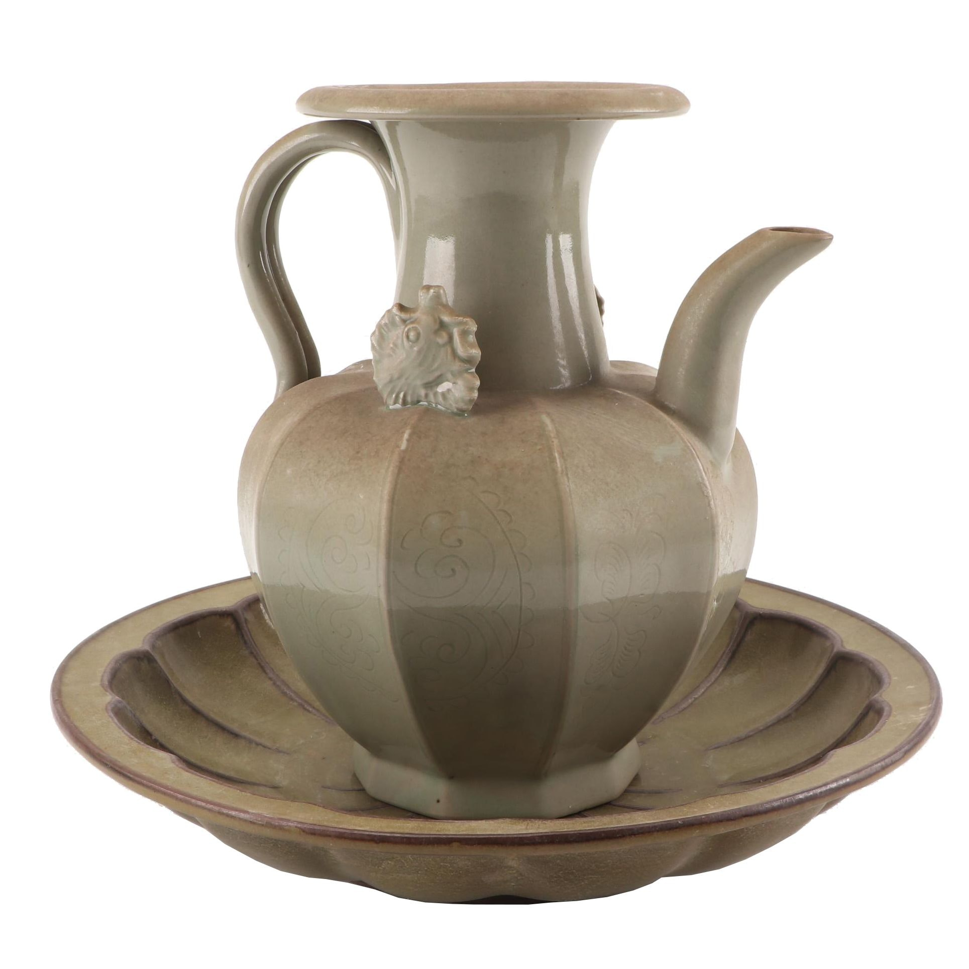 Chinese Decorative Celadon Teapot with Embossed Bowl