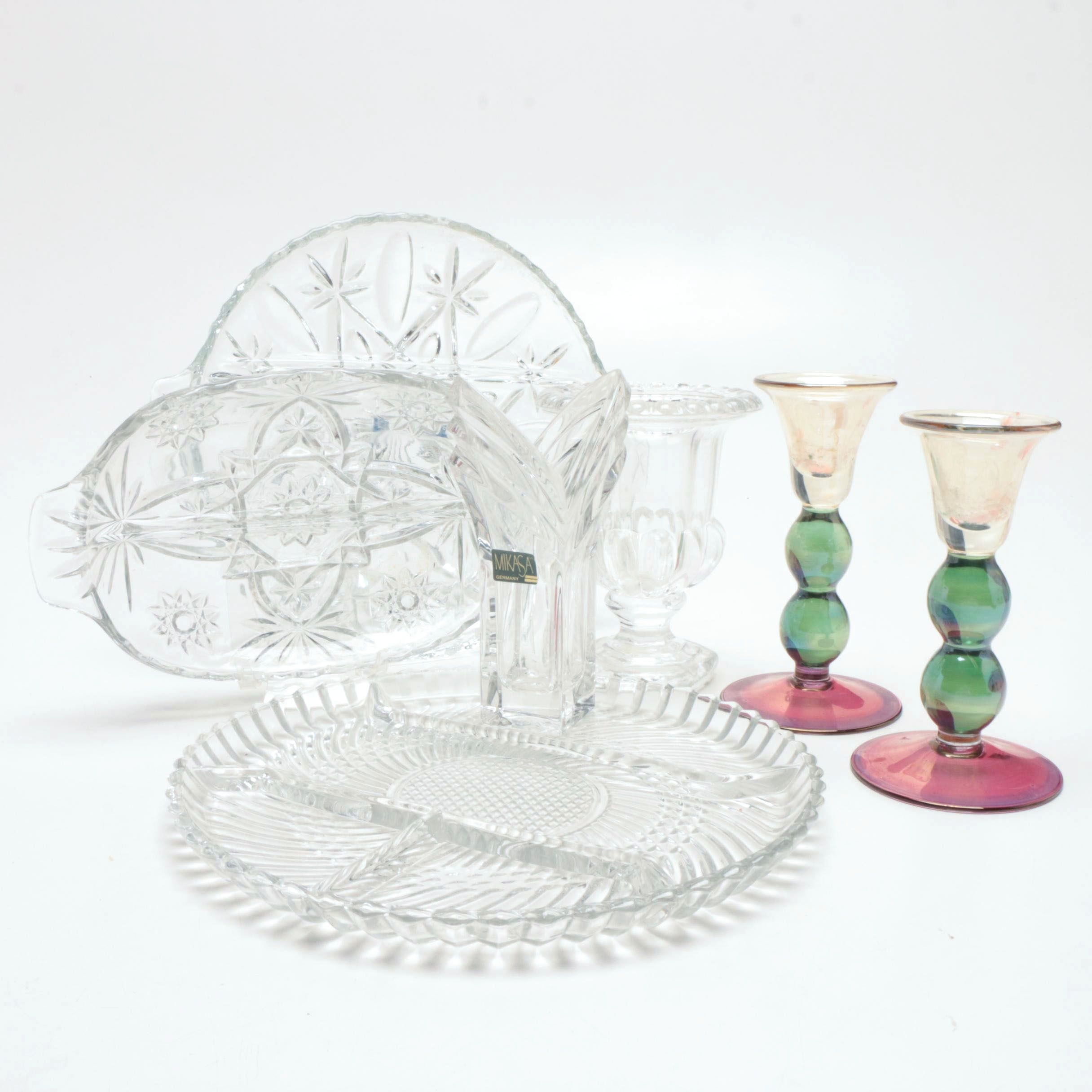 Collection of Crystal Tableware Including Anchor Hocking and Mikasa