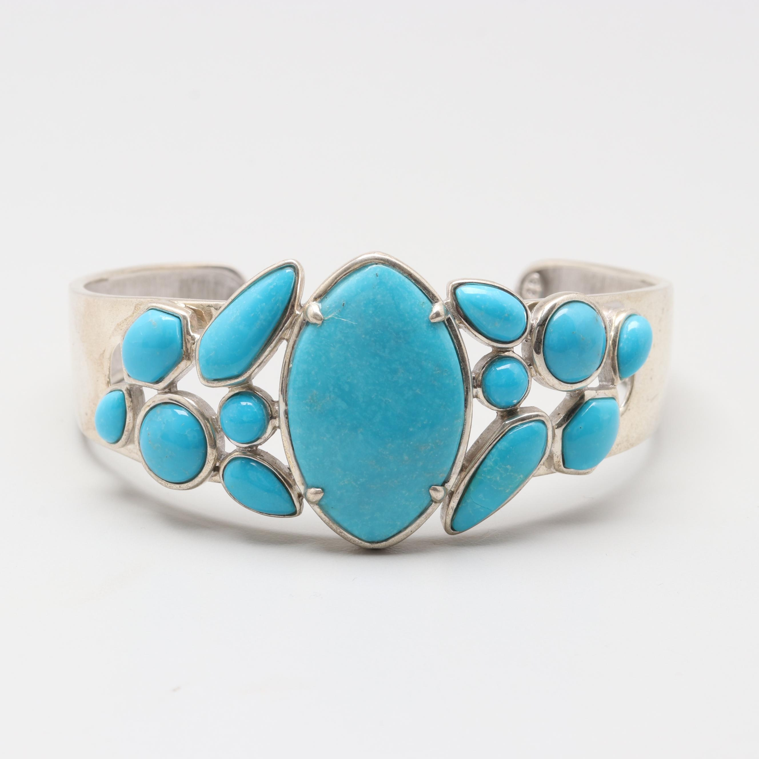 Sterling Silver Stabilized Turquoise Cuff Bracelet