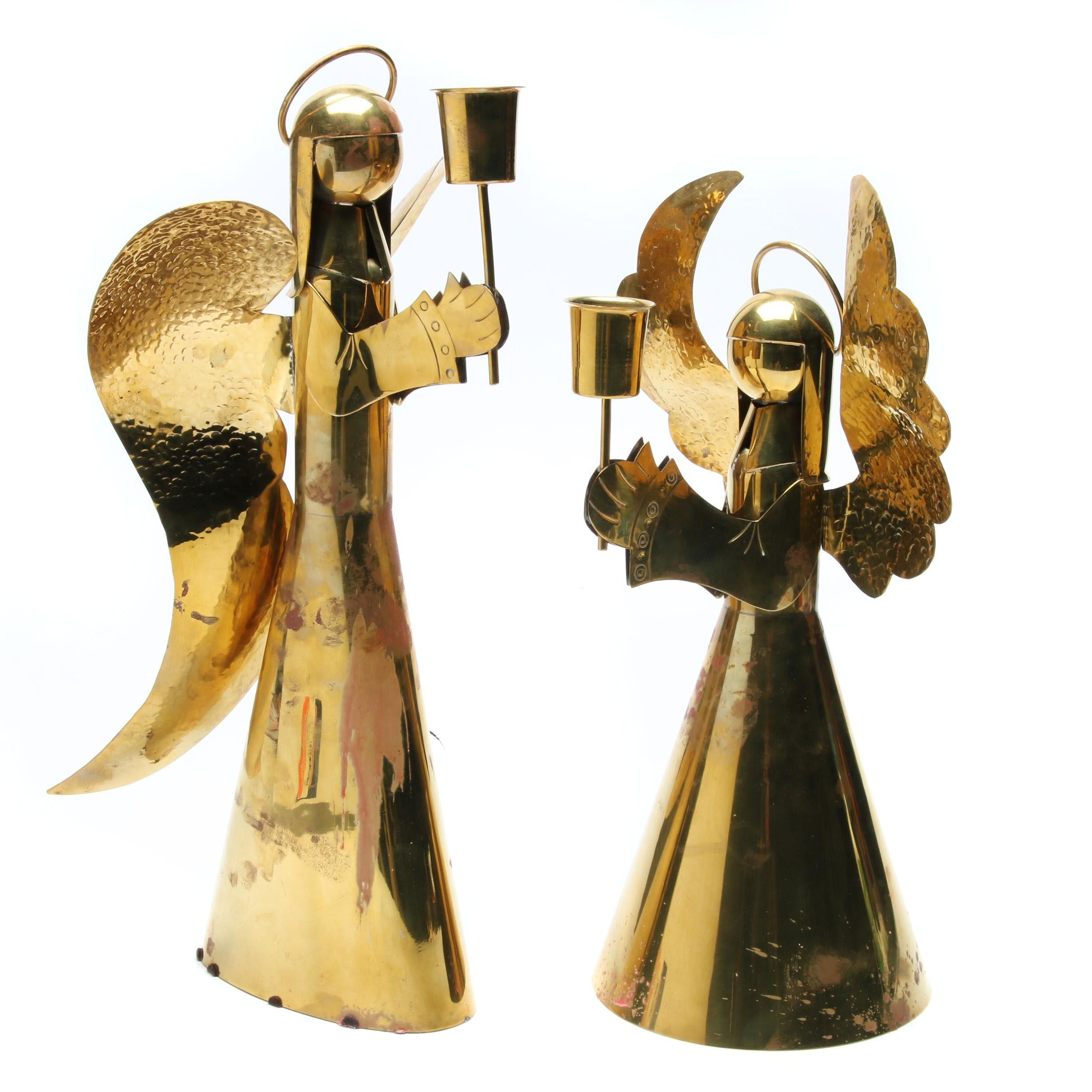 Two Brass Angel Motif Candle Holders