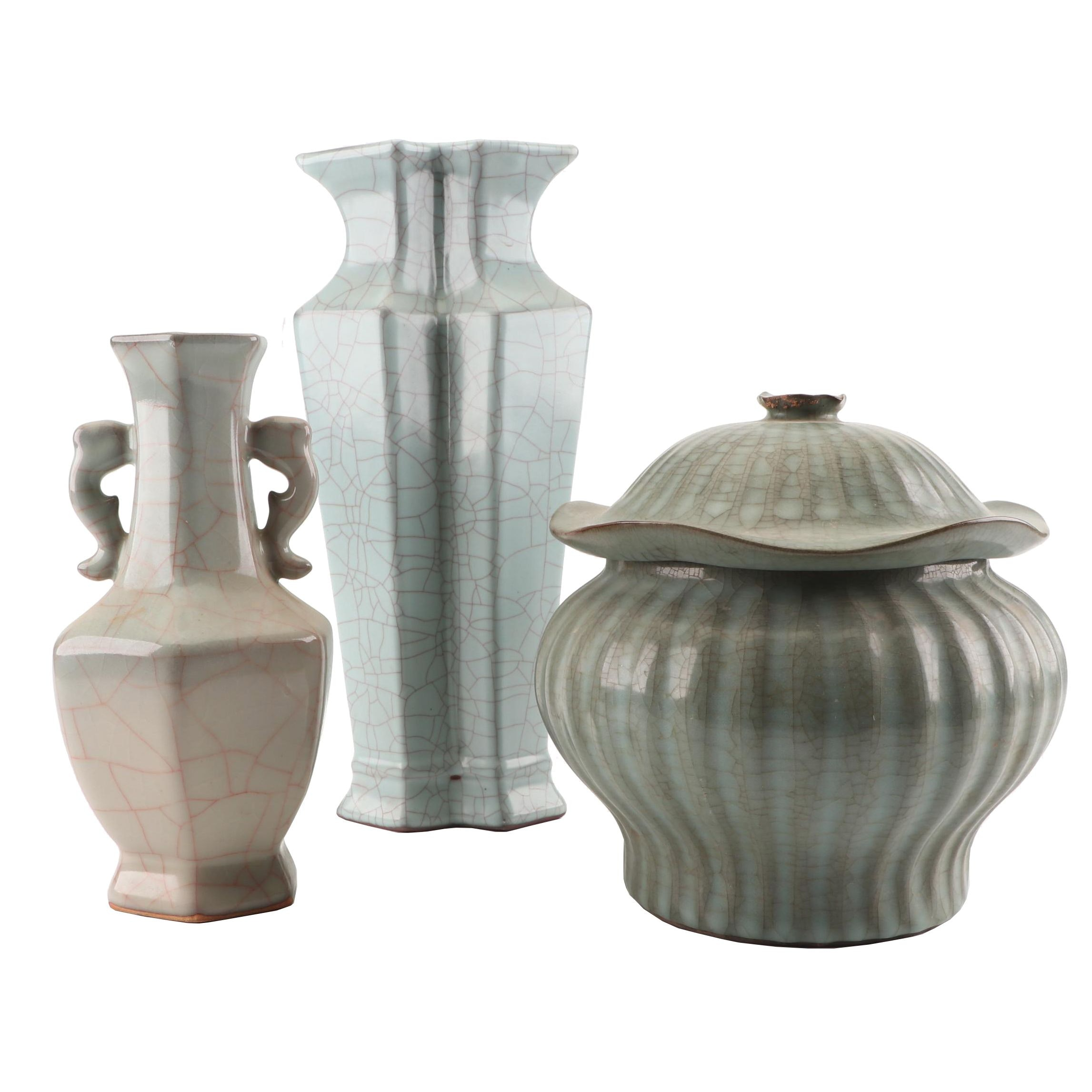 Chinese Guan Style Vases and Jar with Cracked Glaze