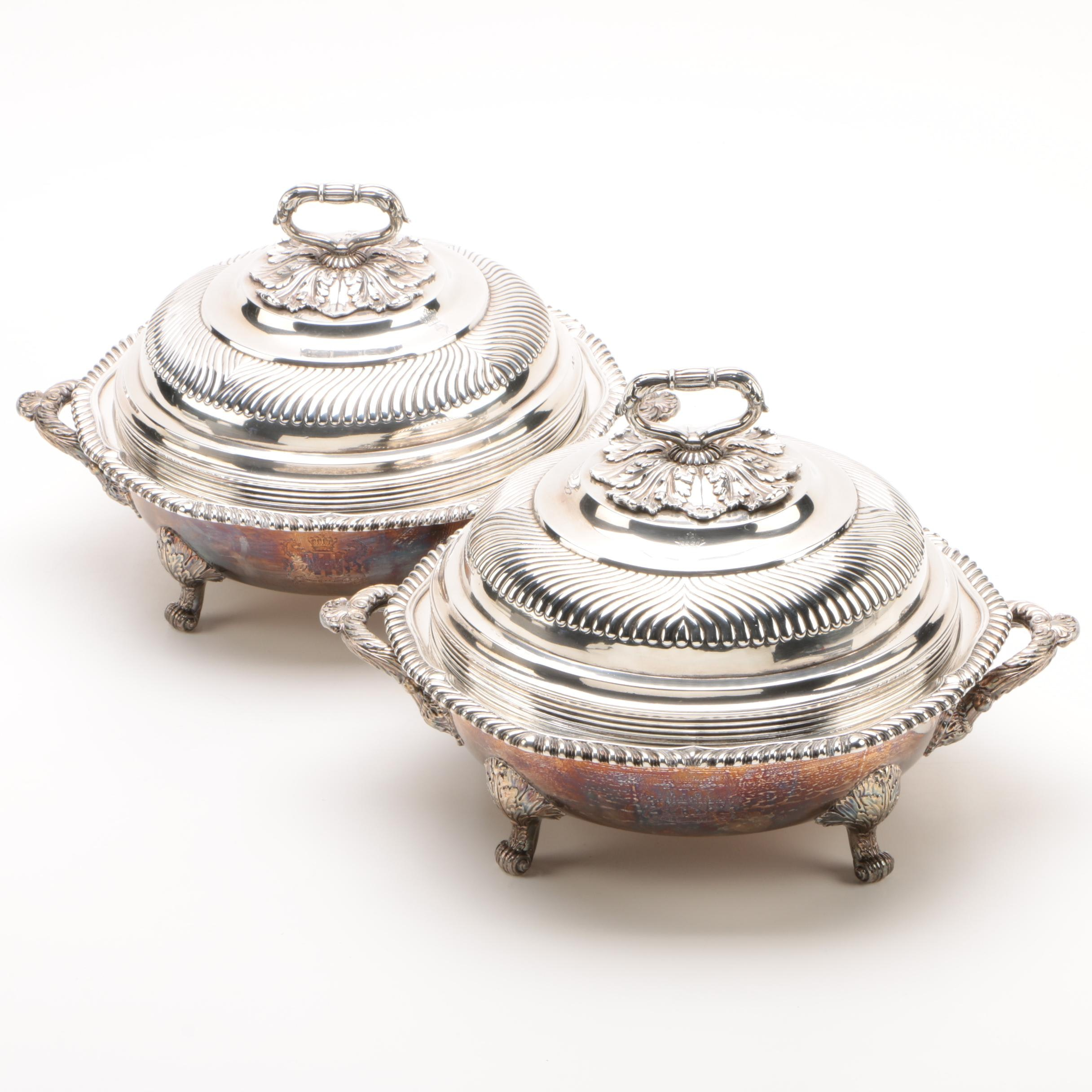 John Houle Sterling-Plated Regency Inspired Chafing Dishes, 1811