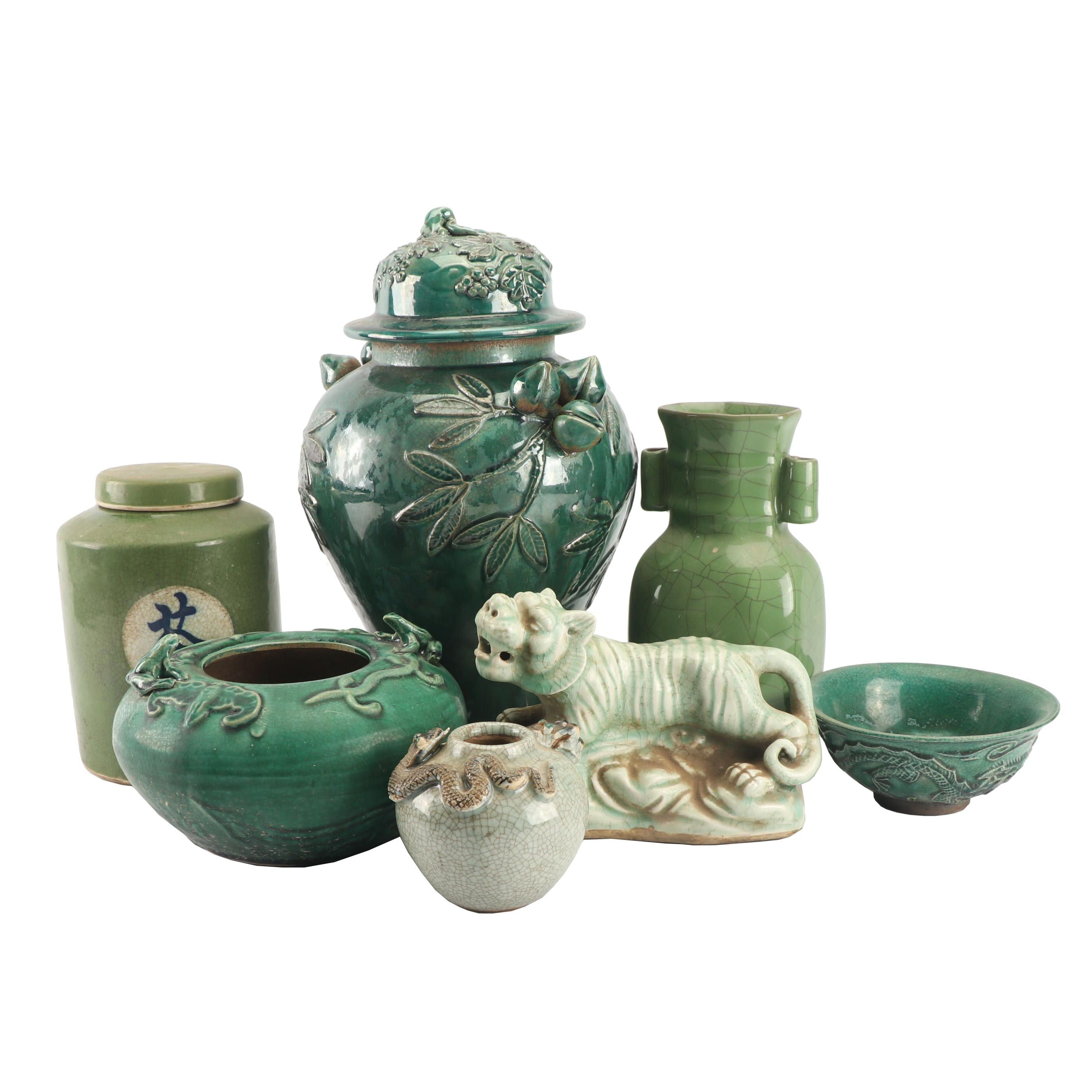Chinese Green Hued Vessels and Lion Figurine