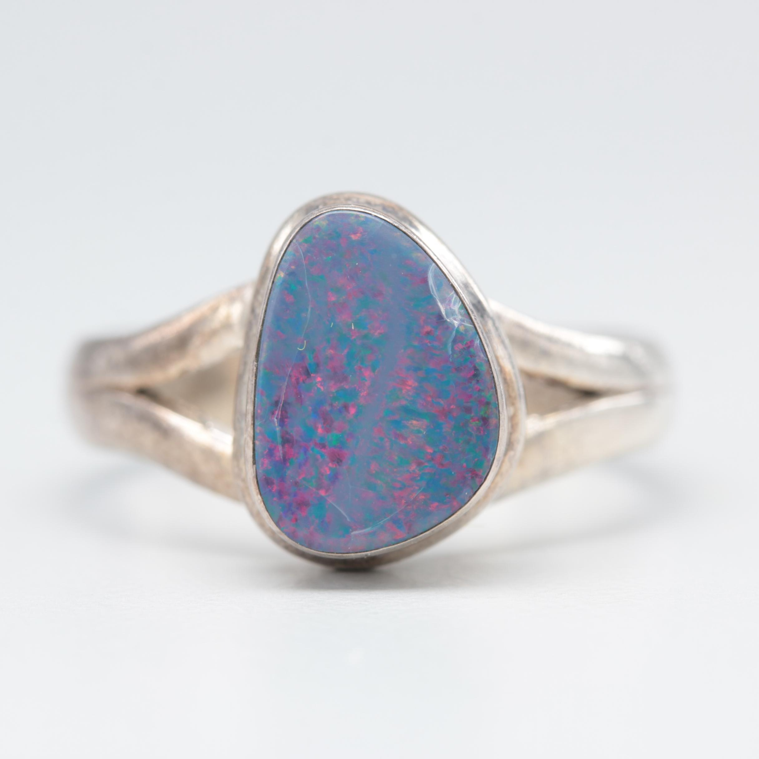 Sterling Silver Opal Doublet Ring