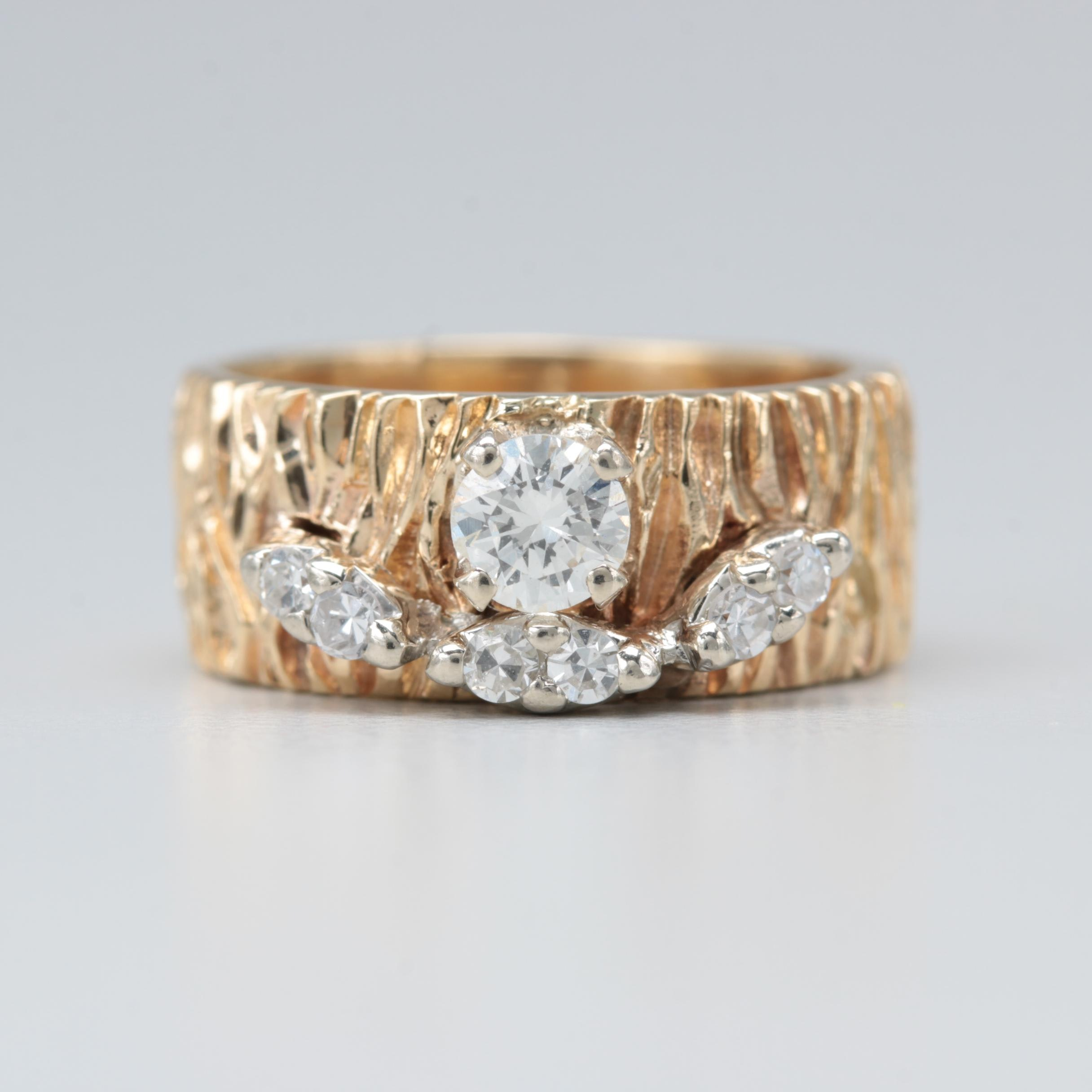 14K Yellow Gold Diamond Ring with Textured Band