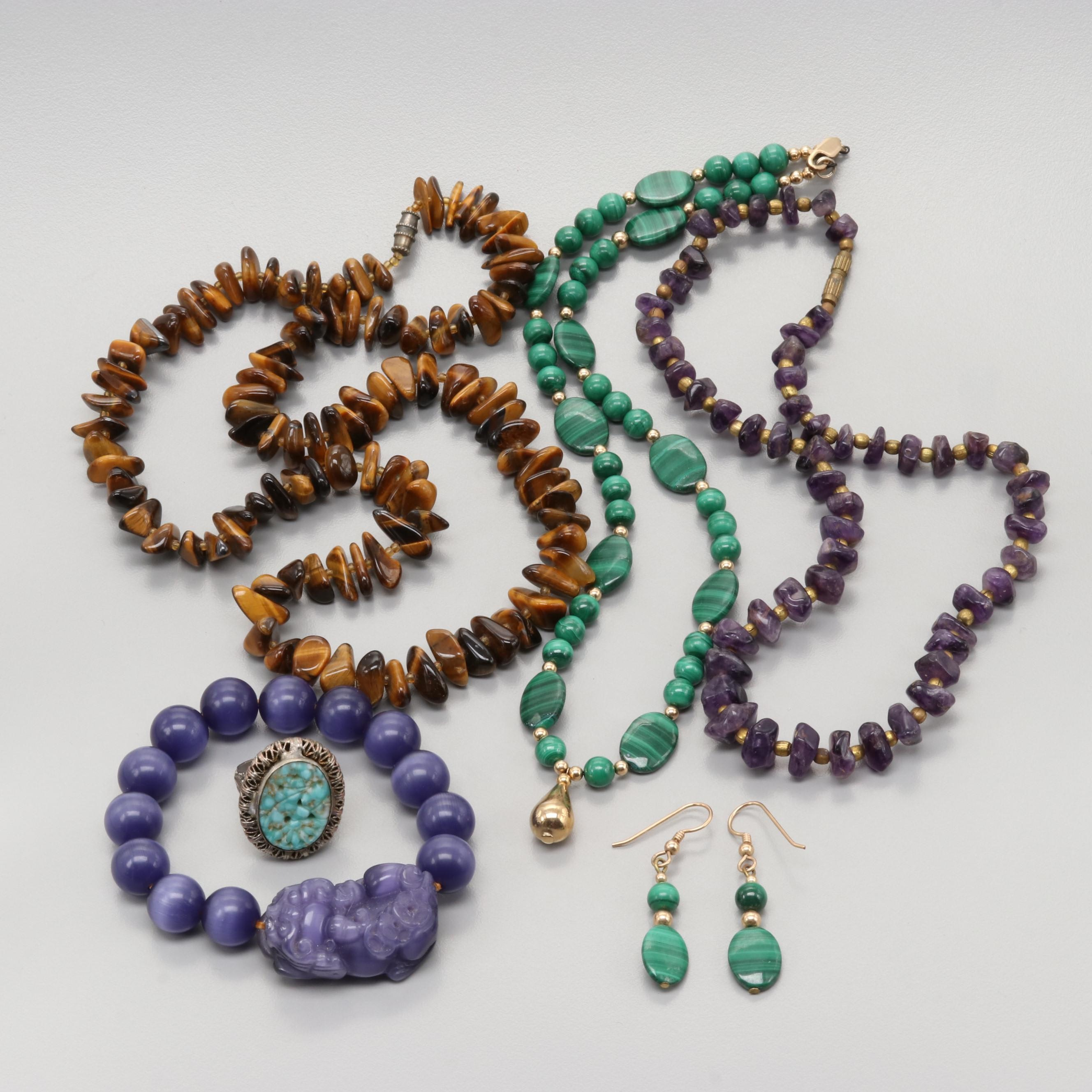 Gold Tone Amethyst Tiger's Eye and Malachite Necklaces, Ring and Earrings