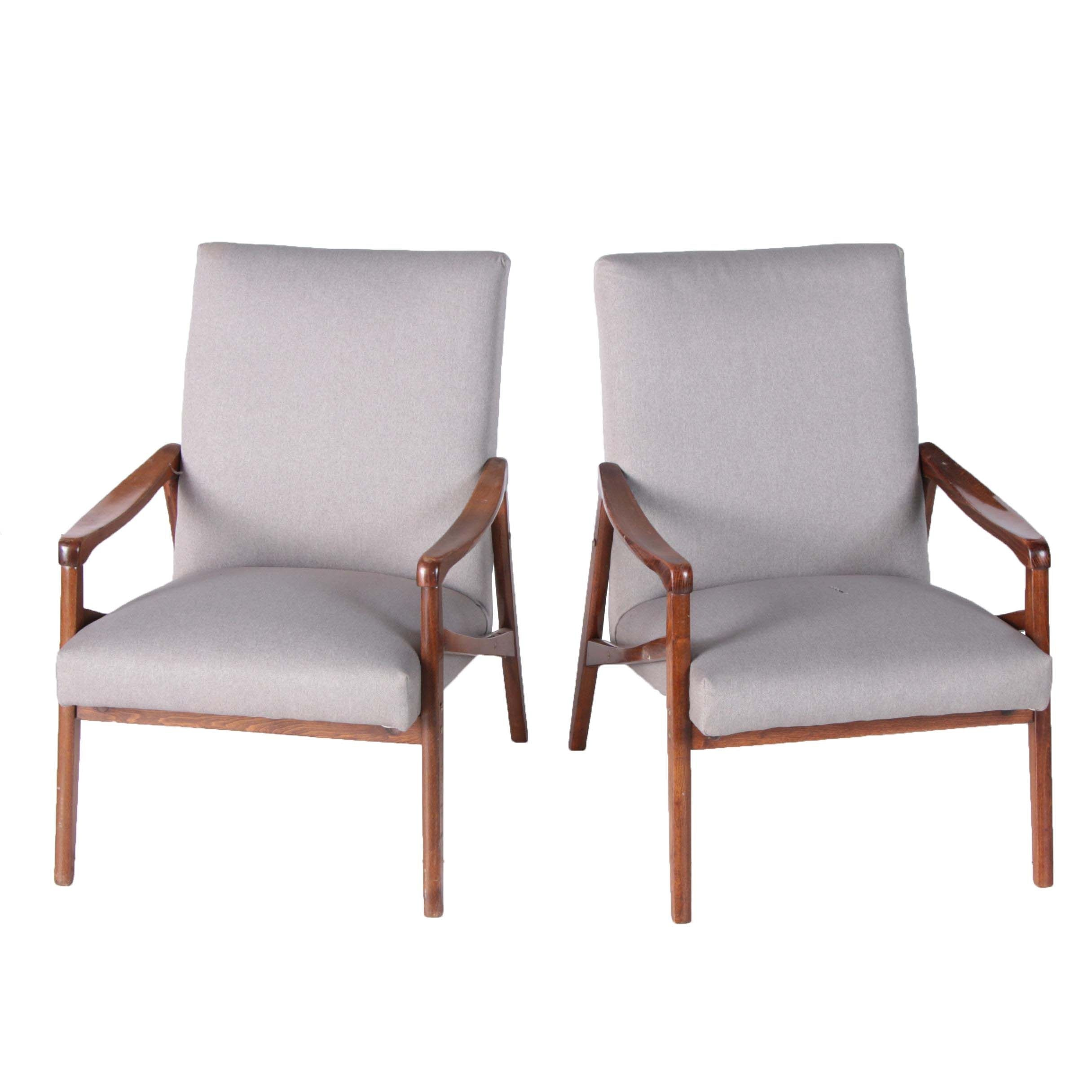 Mid Century Modern Upholstered Walnut Armchairs, 20th Century