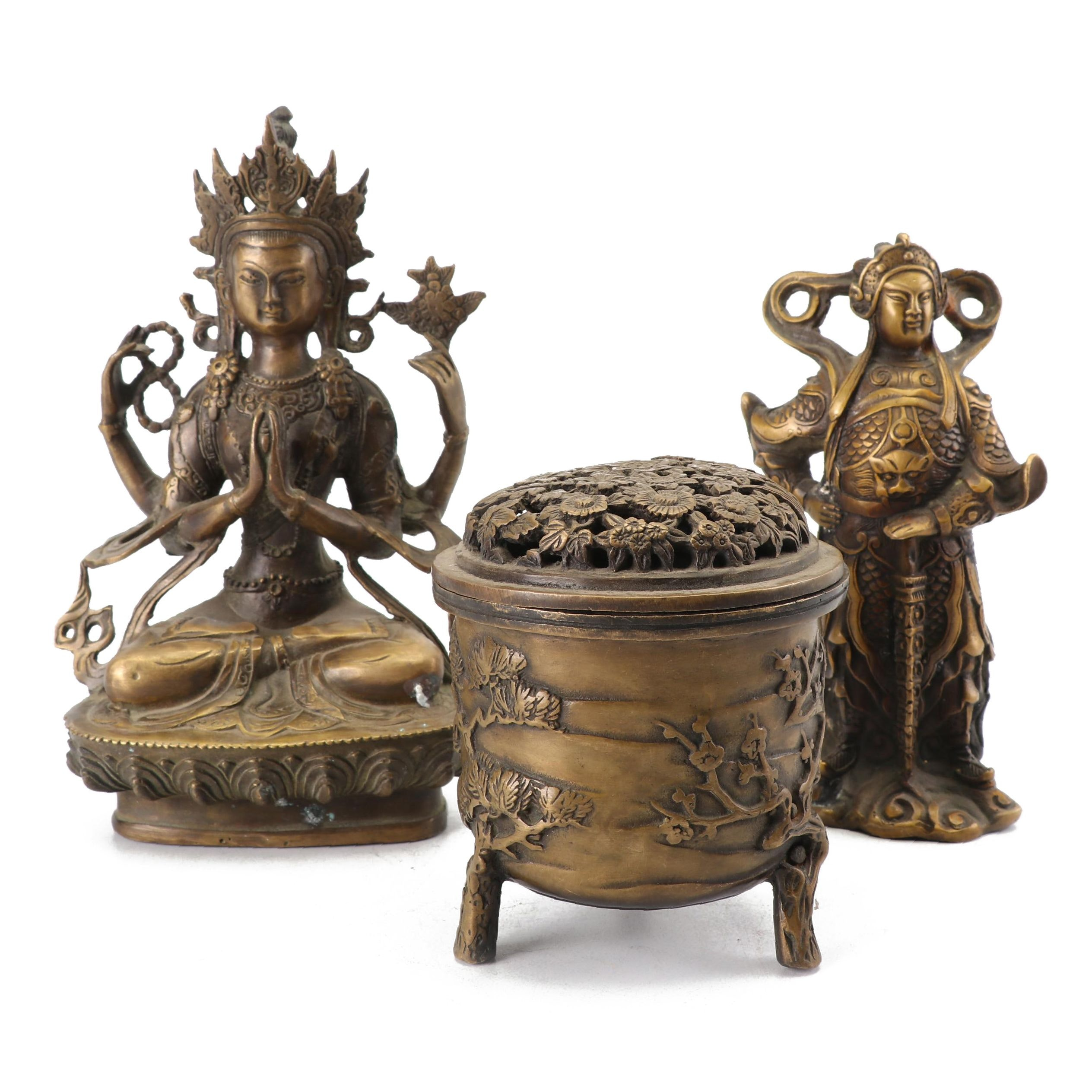 Chinese and Tibetan Style Brass Incense Burner and Figurines