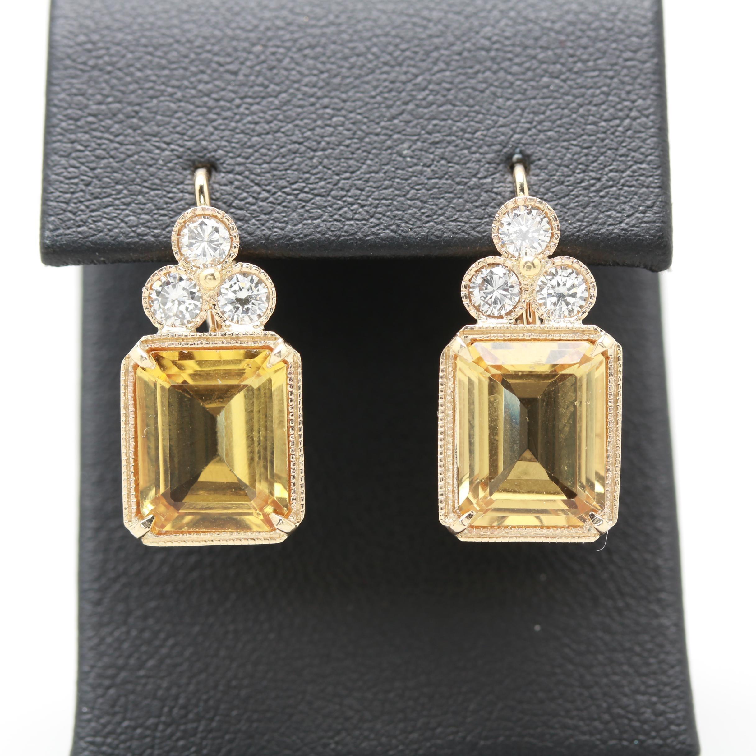 14K Yellow Gold Citrine and Diamond Earrings