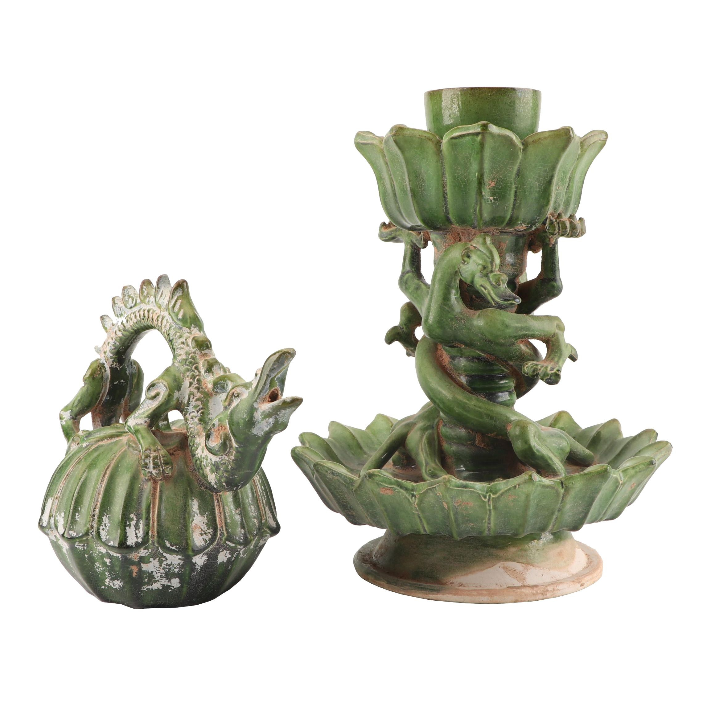 Chinese Dragon Themed Ceramic Candle Holder and Figurine