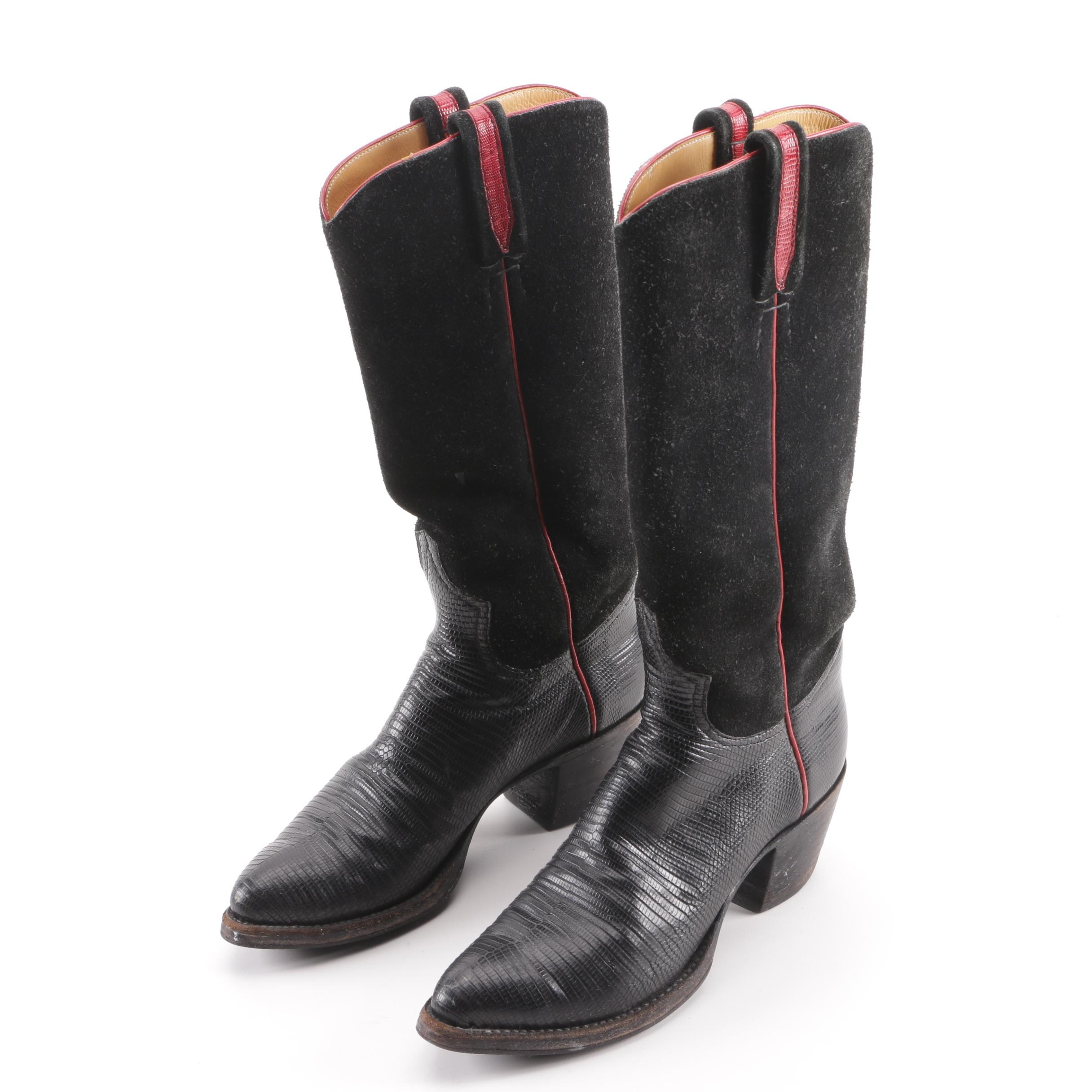 Women's Handcrafted Italian Made Lizard and Suede Western Boots