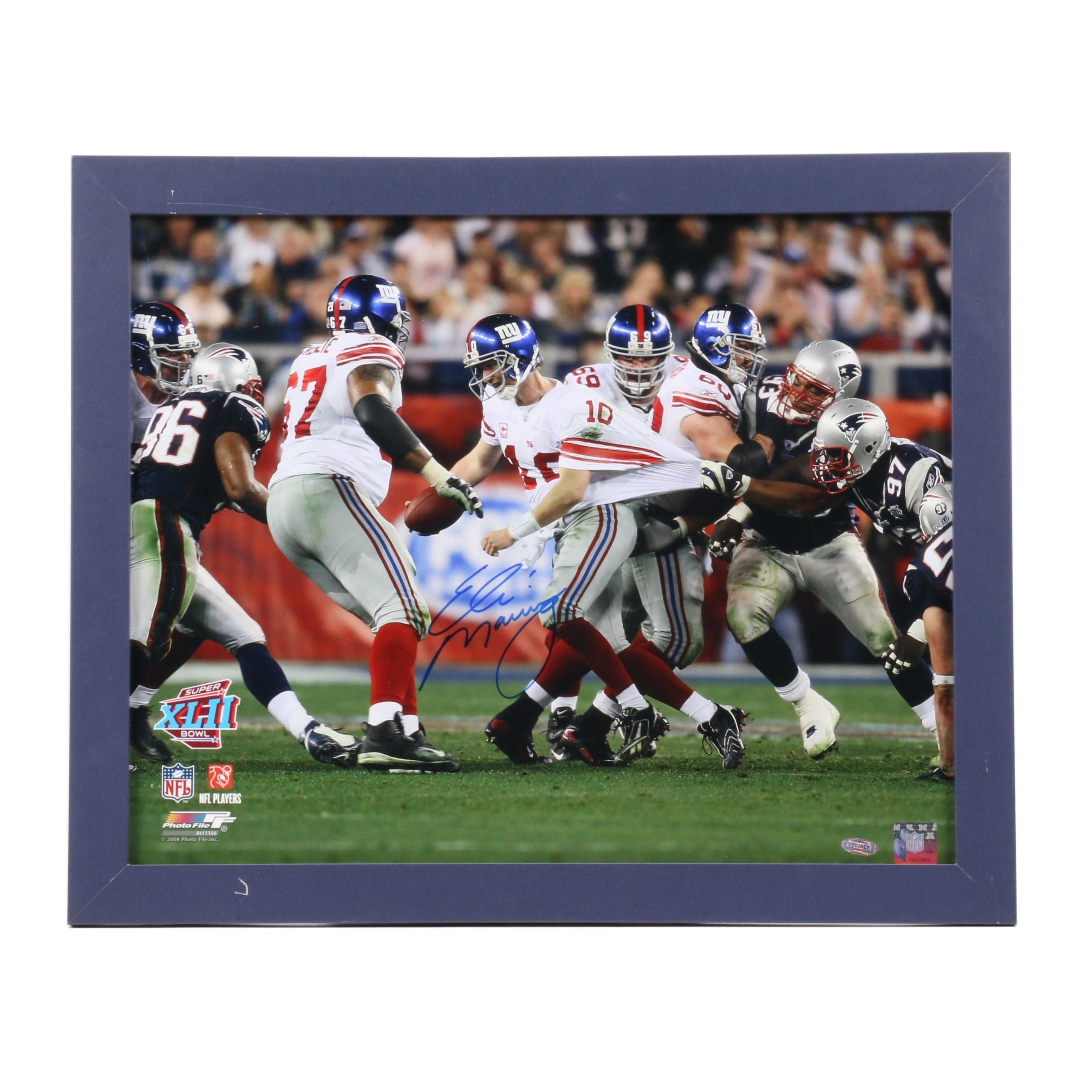 Eli Manning Signed New York Giants Framed Photo Print Steiner COA