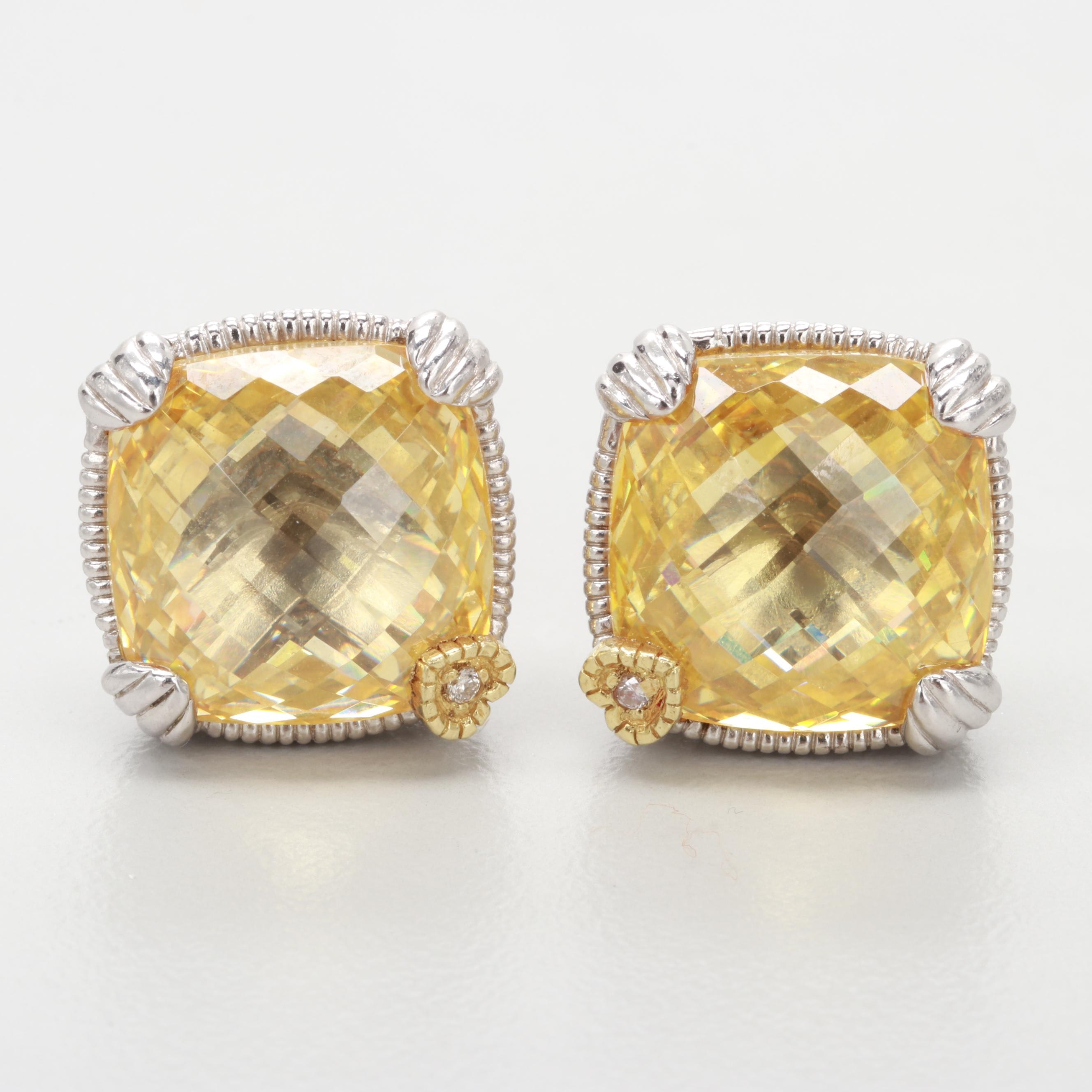 Judith Ripka Sterling Cubic Zirconia and Diamond Earrings with 18K Gold Accents
