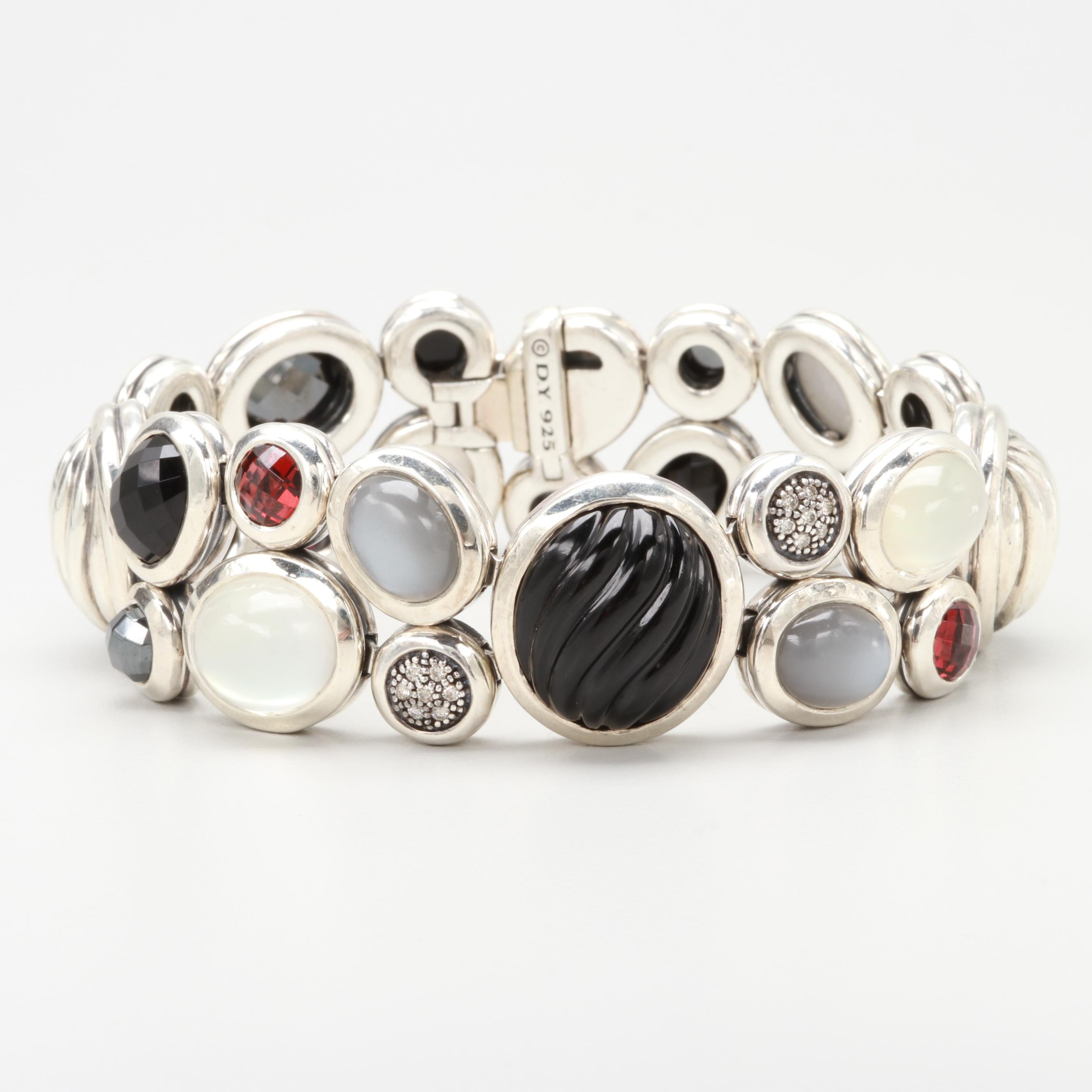 "David Yurman ""Mosaic Collection"" Sterling Silver Diamond and Gemstone Bracelet"