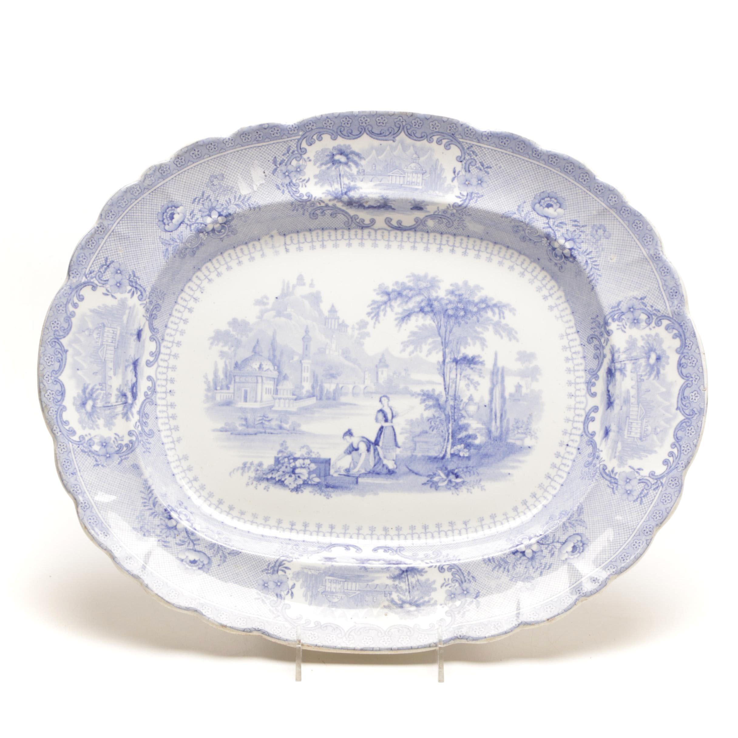 "19th Century Blue Transferware ""Verona"" Staffordshire Platter"