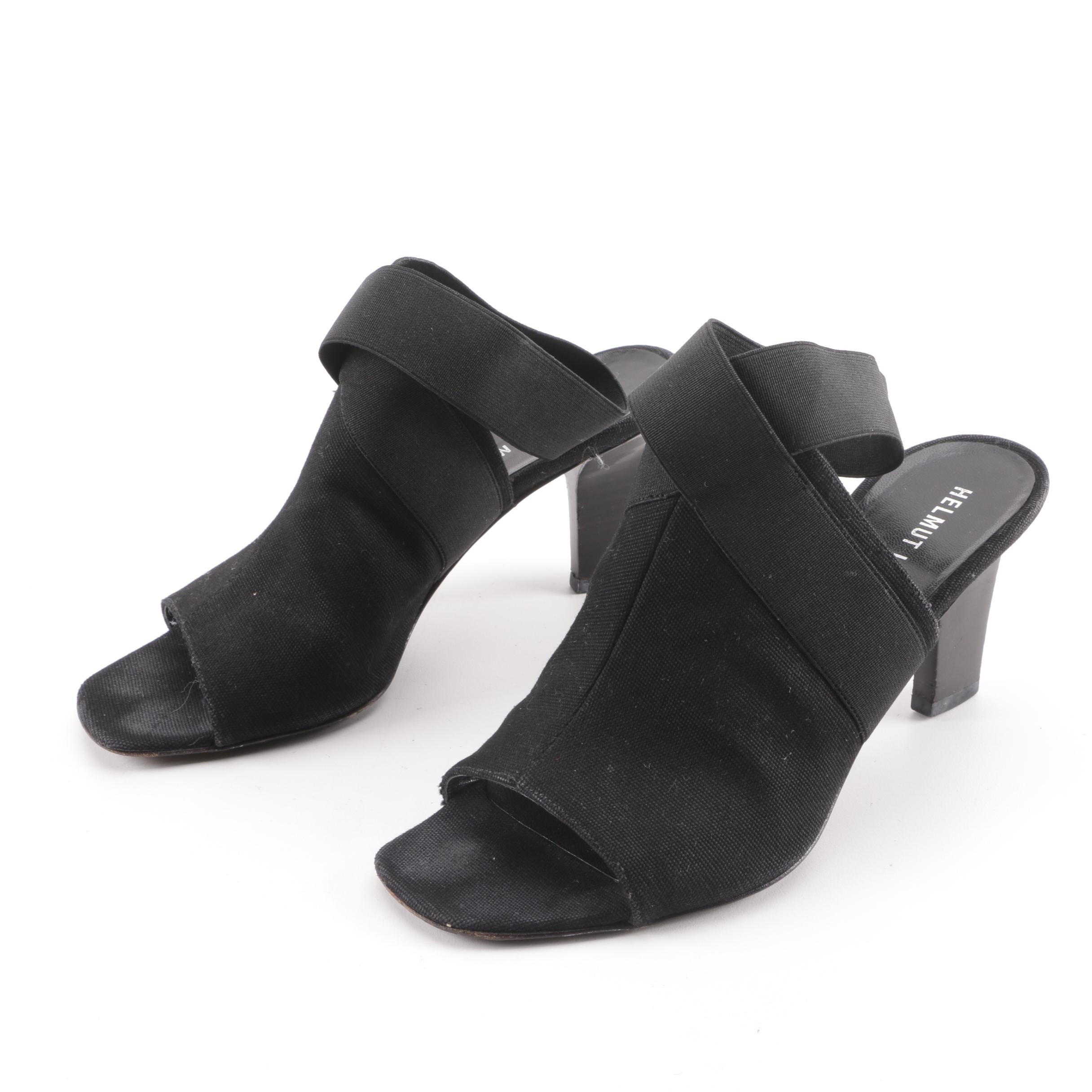 Helmut Lang Black Canvas Crossover Ankle Strap Open-Toe Heels