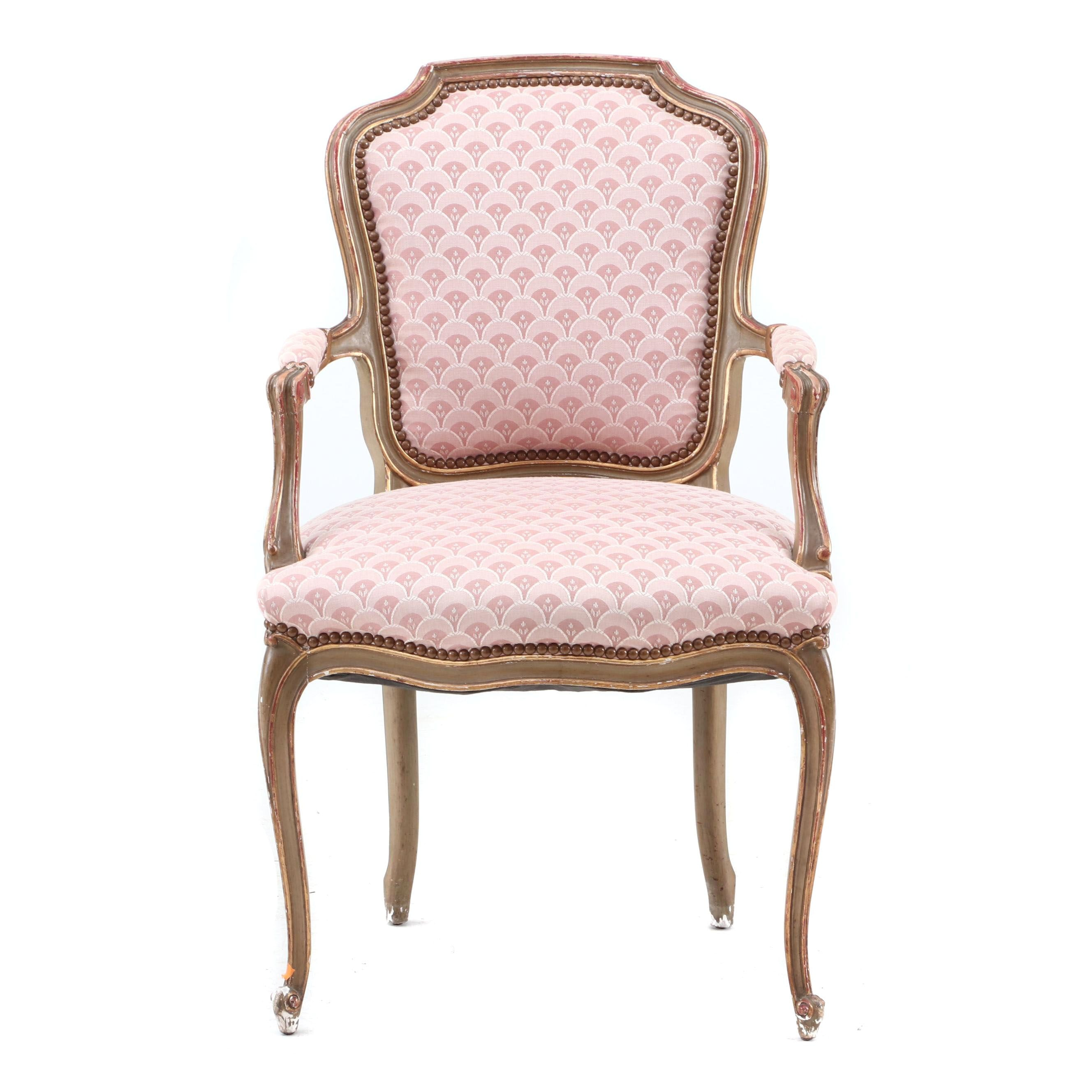 20th Century French Style Upholstered Boudoir Arm Chair