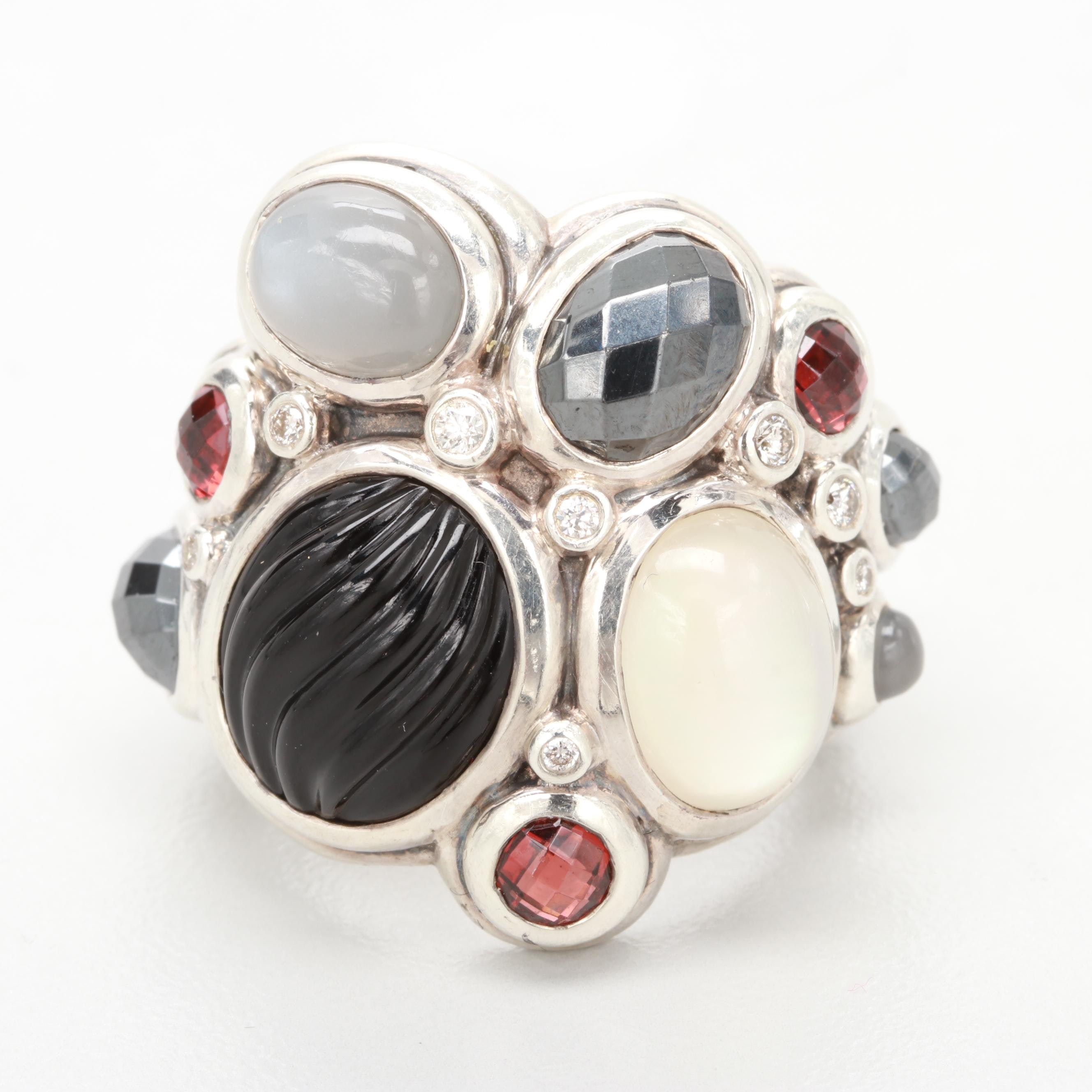 "David Yurman ""Mosaic Collection"" Sterling Silver Diamond and Gemstone Ring"