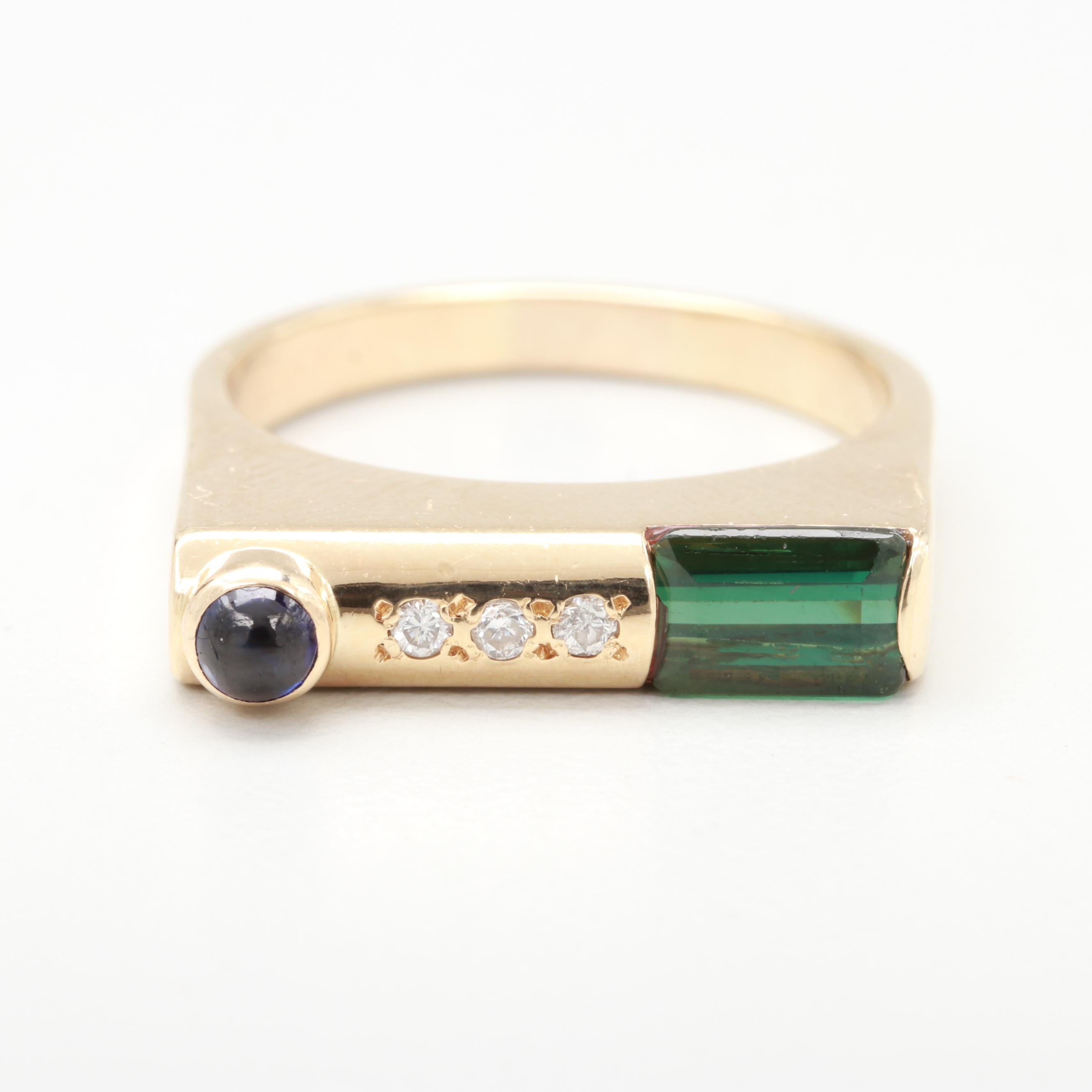 Post Modern 14K Yellow Gold Green Tourmaline, Sapphire and Diamond Ring