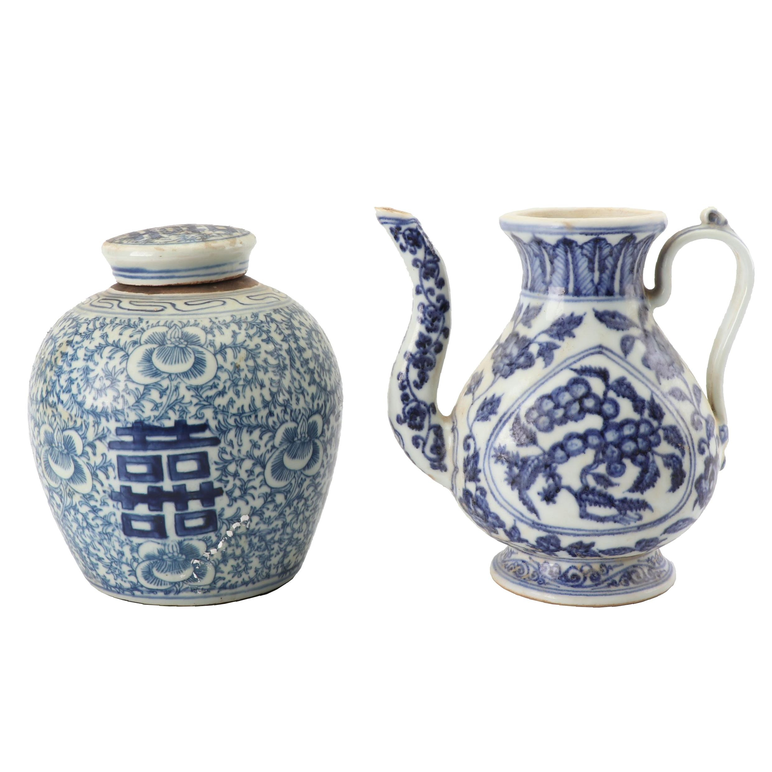 Chinese Hand-Painted Blue and White Ginger Jar and Tea Pot