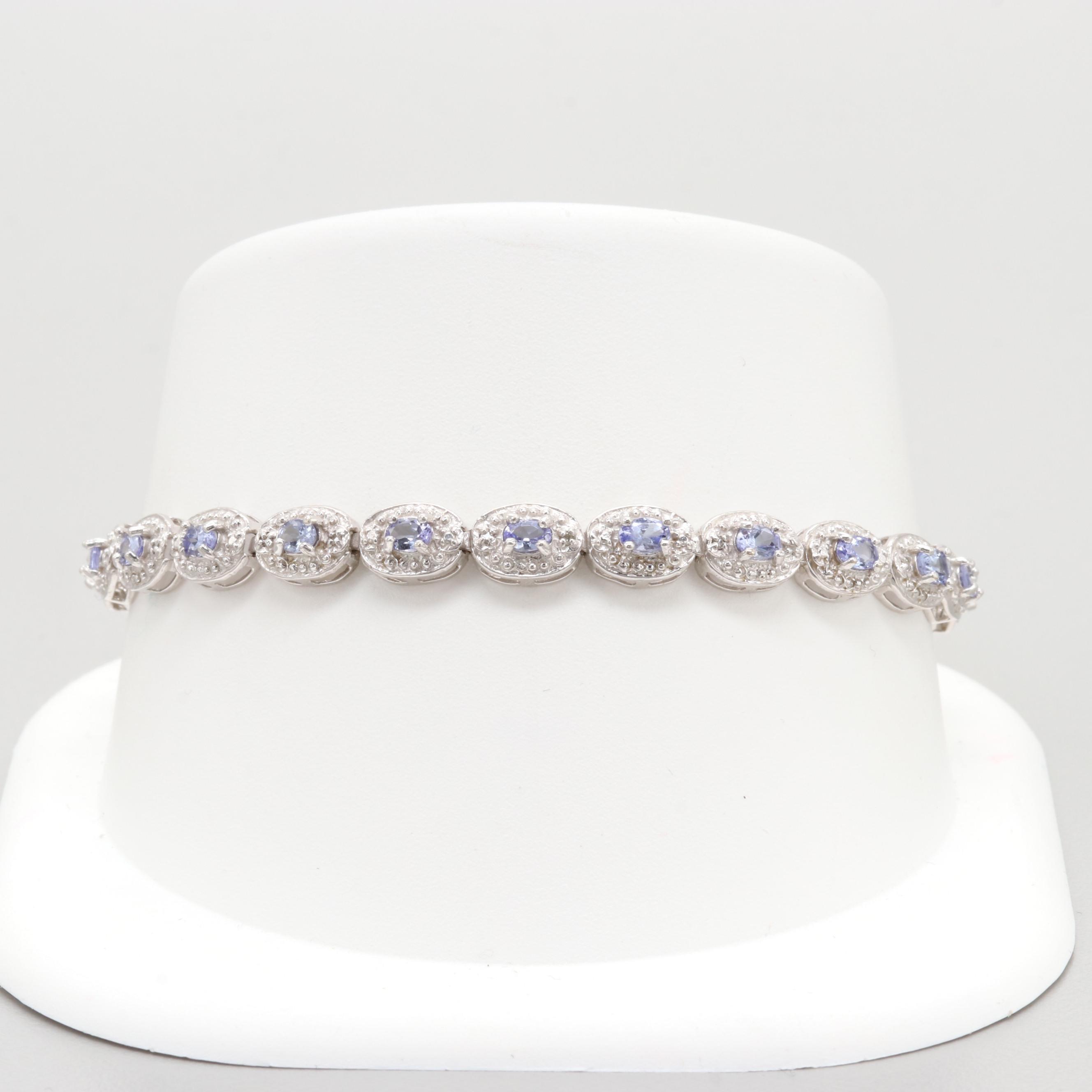 10K White Gold Tanzanite and Diamond Tennis Bracelet