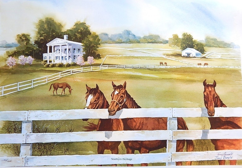 """1984 Tony Oswald Signed Limited """"Southern Heritage"""" Offset Lithograph"""