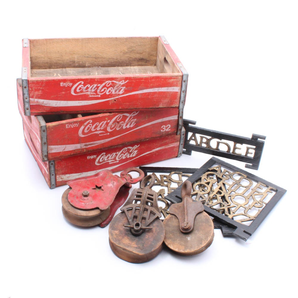 Wooden Coca-Cola Crates, Metal Pulleys and More