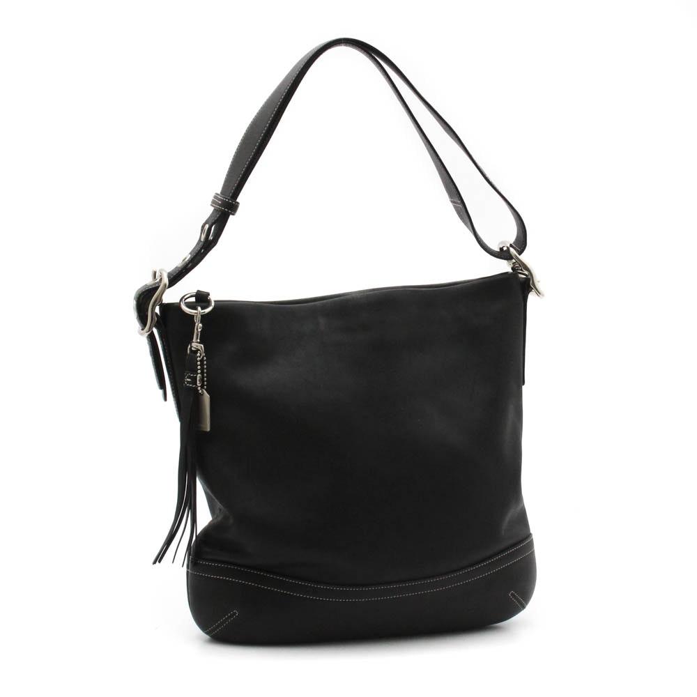 Coach Black Leather Shoulder Bag with Tassel Fob