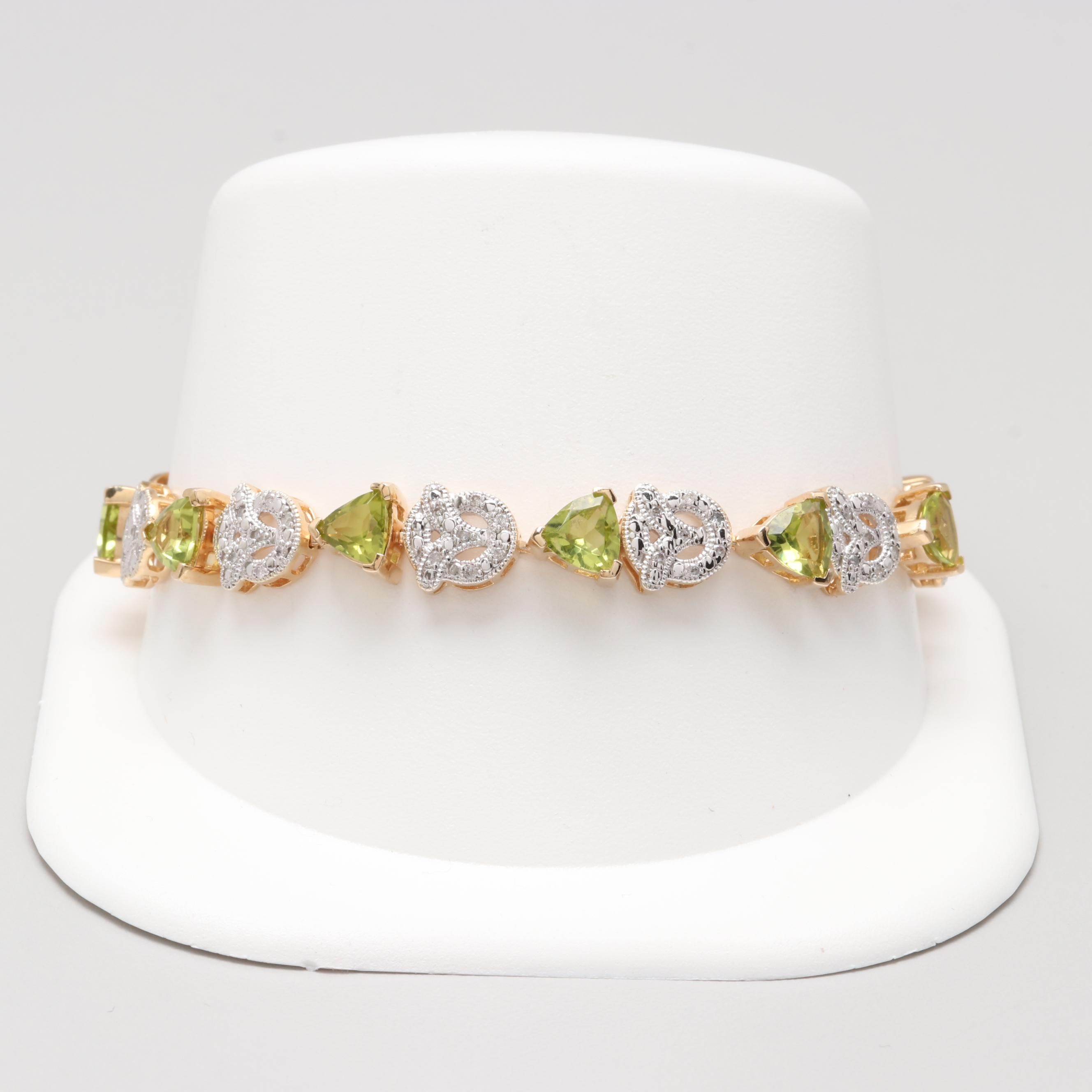 Gold Wash on Sterling Silver Peridot and Diamond Bracelet