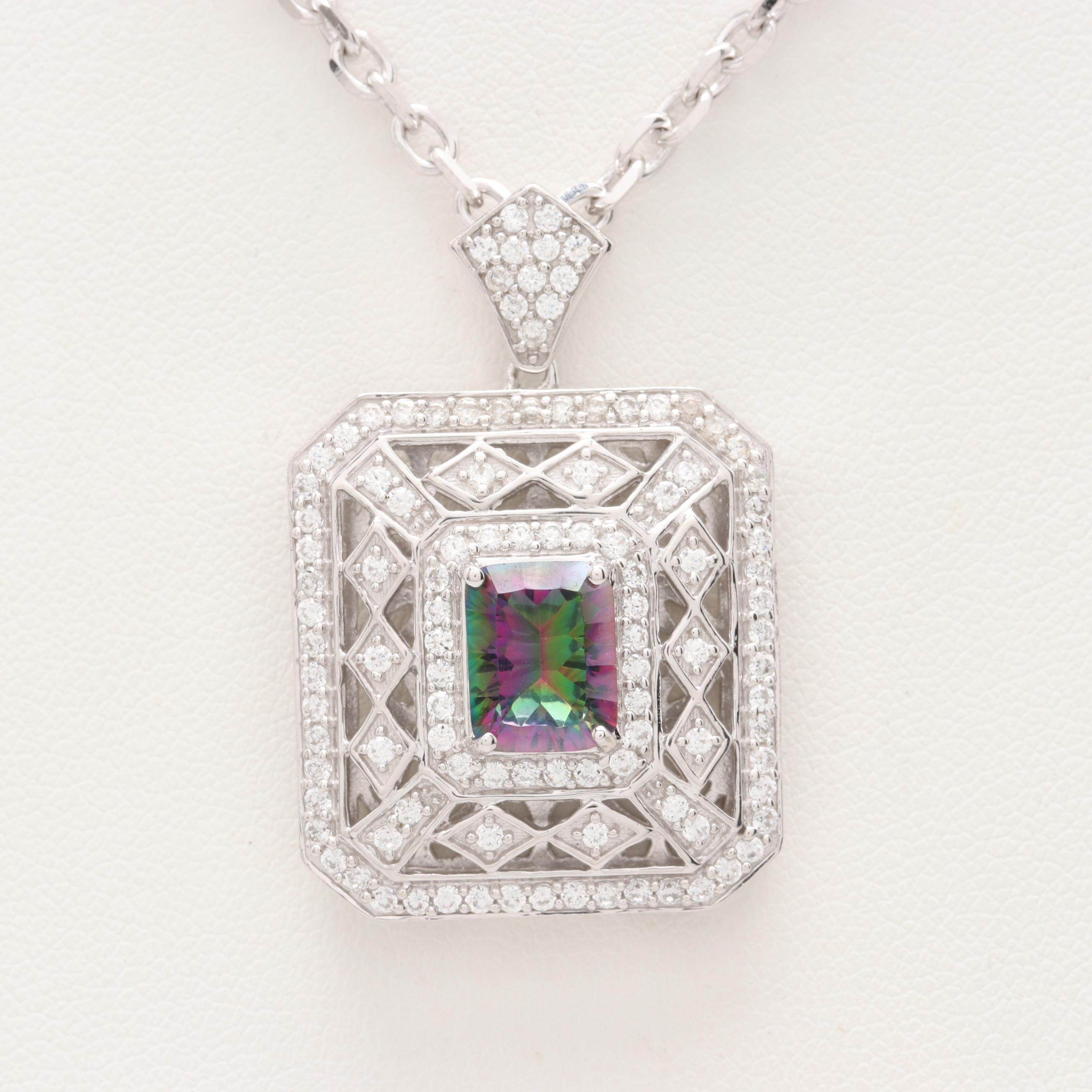 Sterling Silver Quartz and Cubic Zirconia Necklace