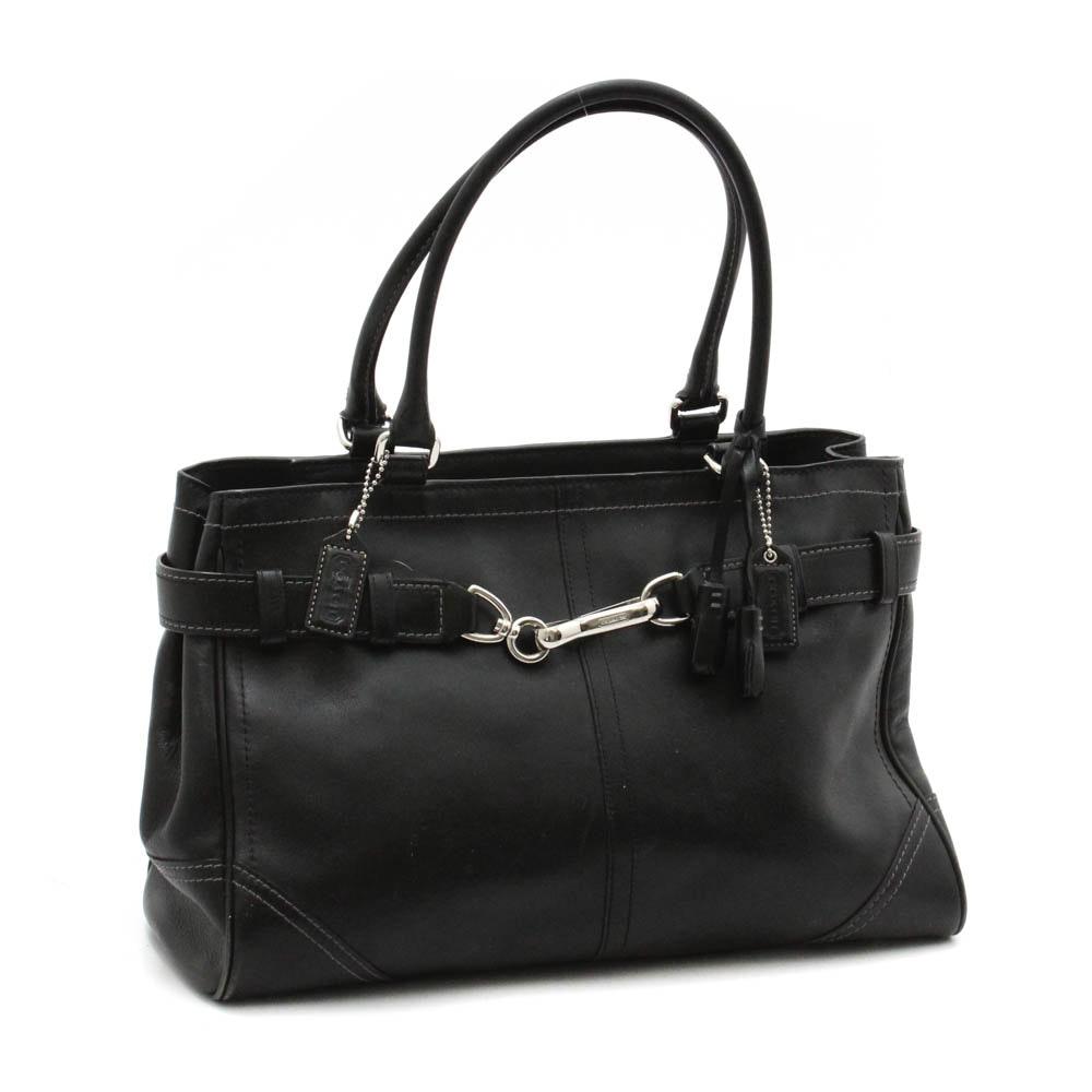 Coach Hamptons Black Leather Carryall Shoulder Bag