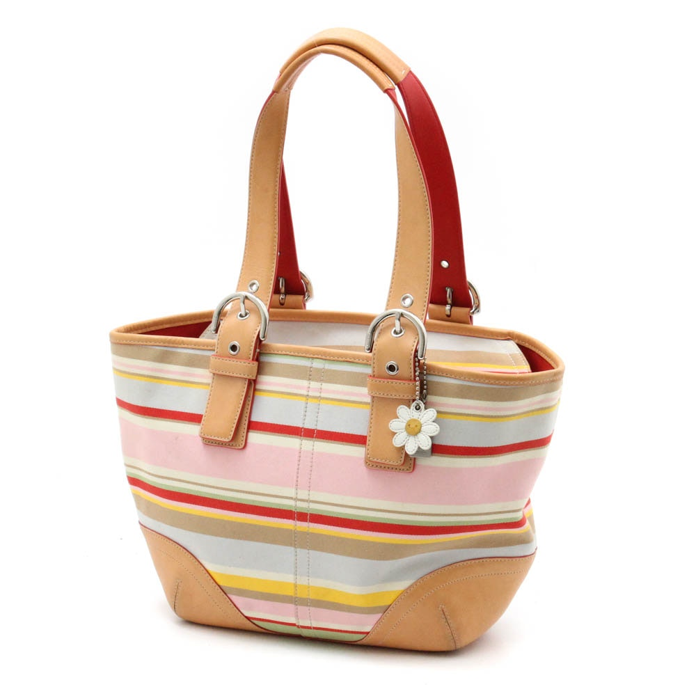 Coach Multi-Striped Canvas and Leather Shoulder Bag