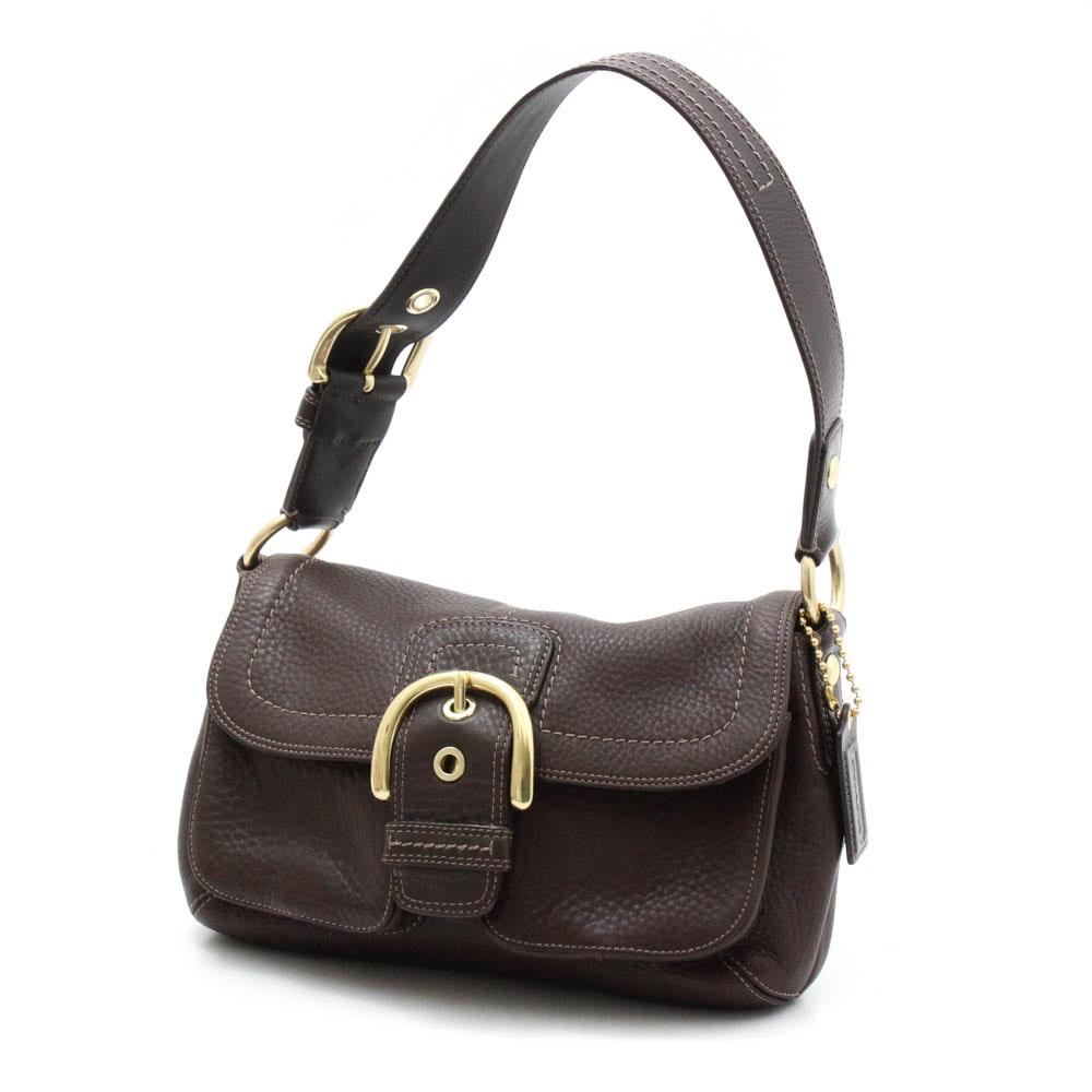Coach Dark Brown Pebbled Leather Shoulder Bag